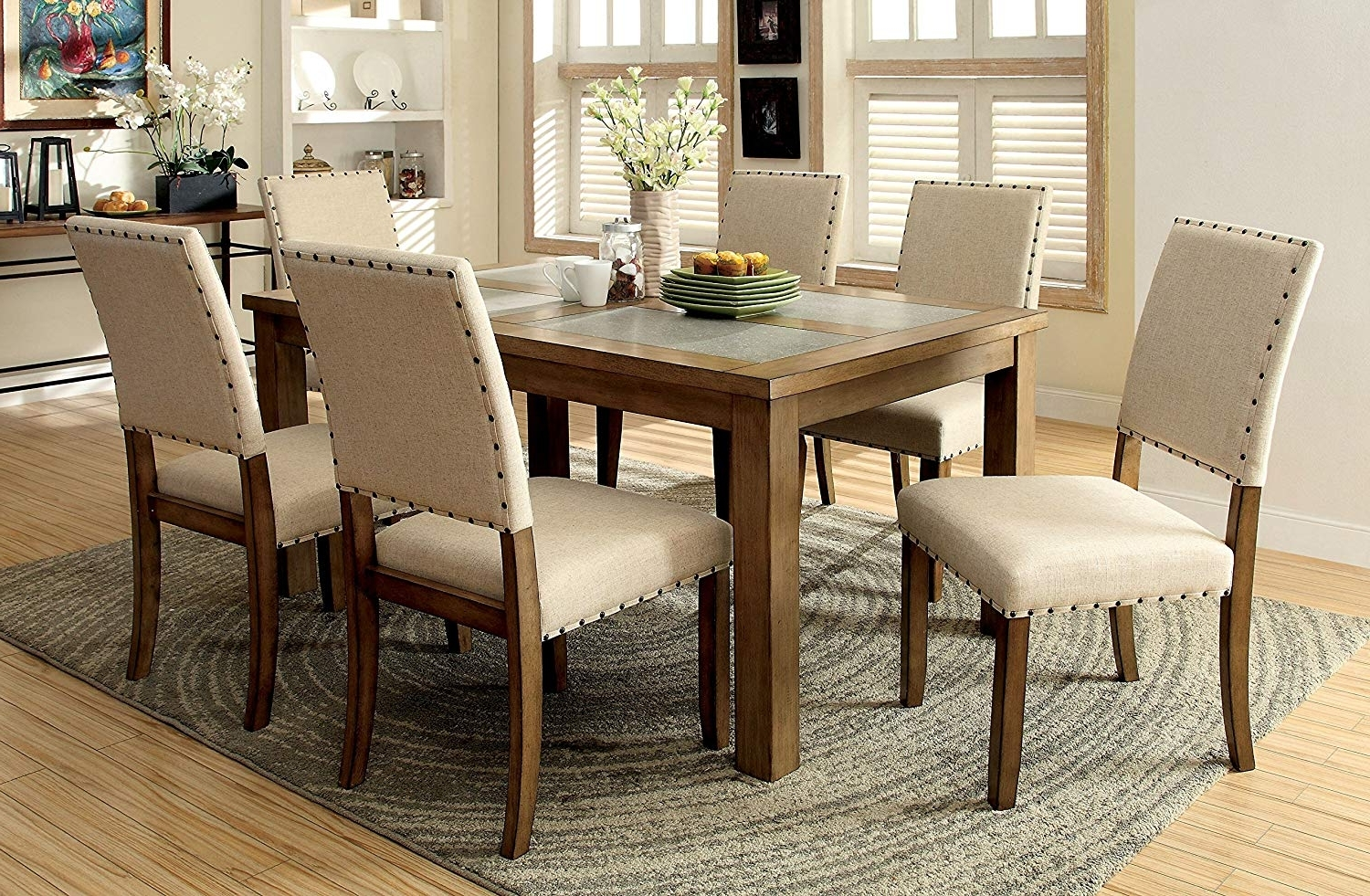 Widely Used Valencia 3 Piece Counter Sets With Bench Throughout Amazon – Furniture Of America Lucena 7 Piece Transitional Dining (View 17 of 25)