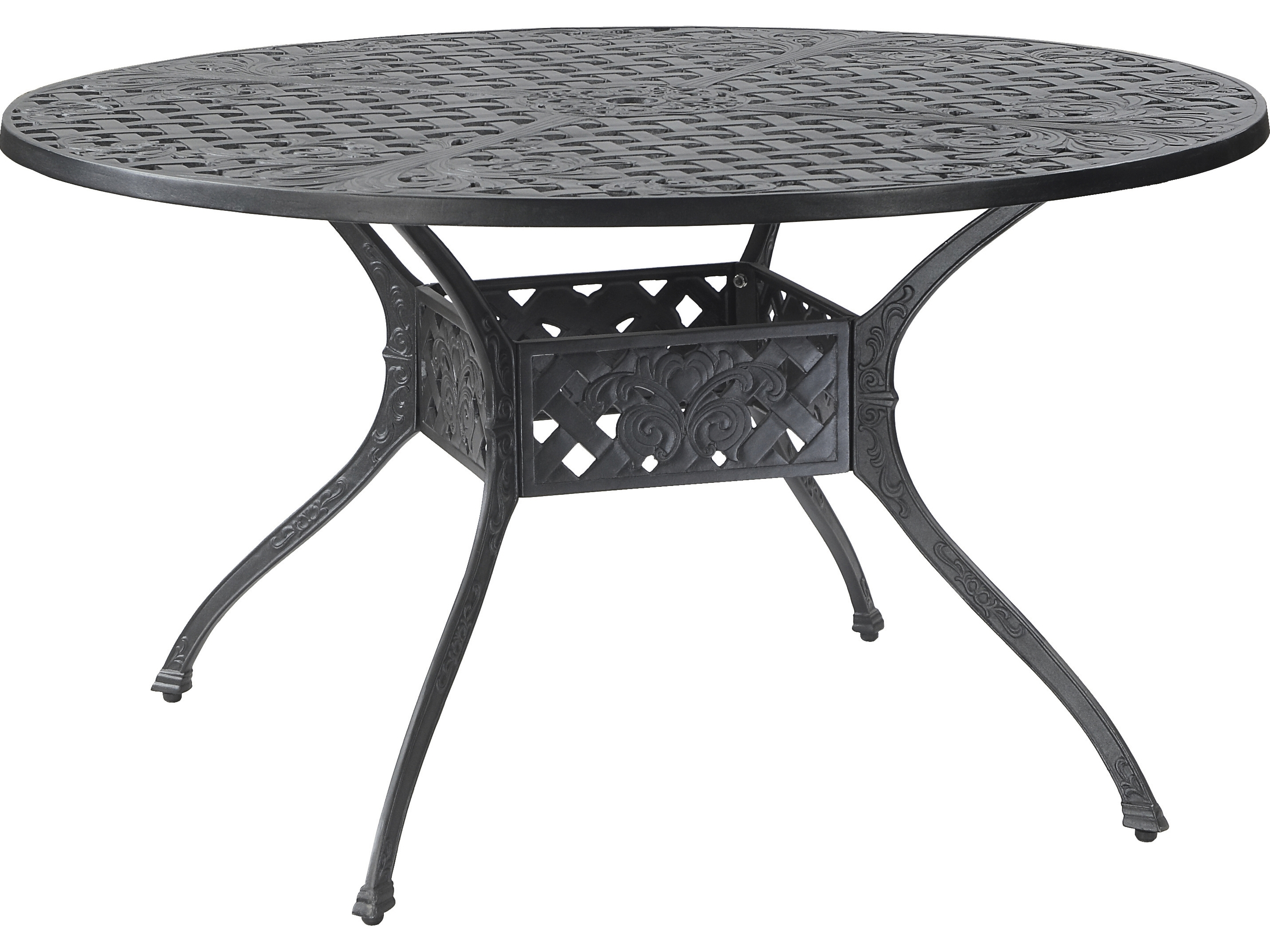 Widely Used Verona Dining Tables For Gensun Verona Cast Aluminum 54 Round Dining Table With Umbrella Hole (View 24 of 25)