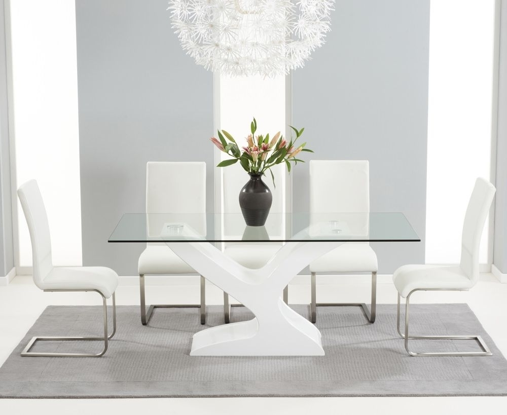 Widely Used White Gloss And Glass Dining Tables With Natalie White Gloss Glass 180Cms Dining Table & Six White Chairs (View 8 of 25)