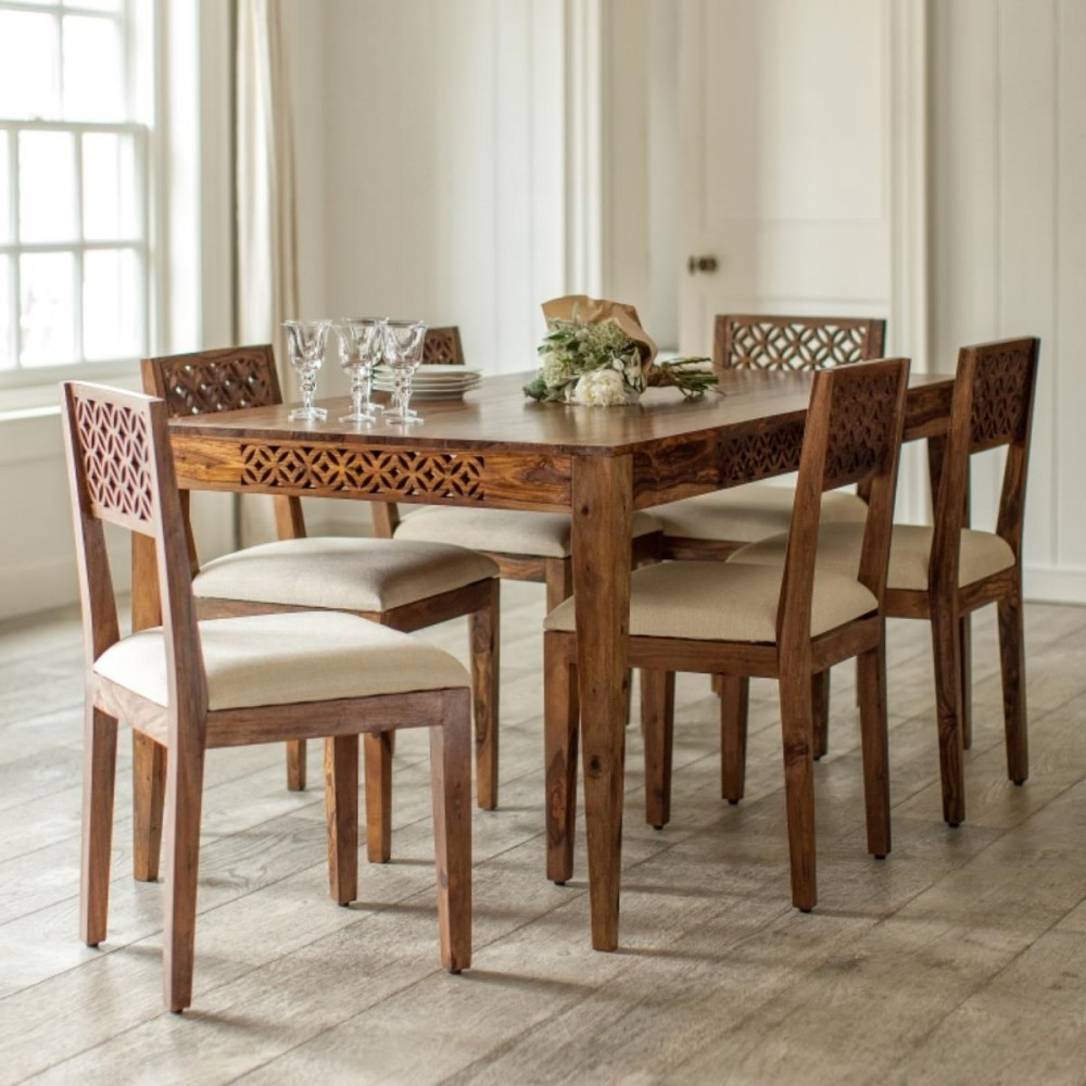 Widely Used Wooden Dining Table Set Six Seater Camellias Collectionnatureberry Intended For Sheesham Dining Tables And Chairs (View 8 of 25)