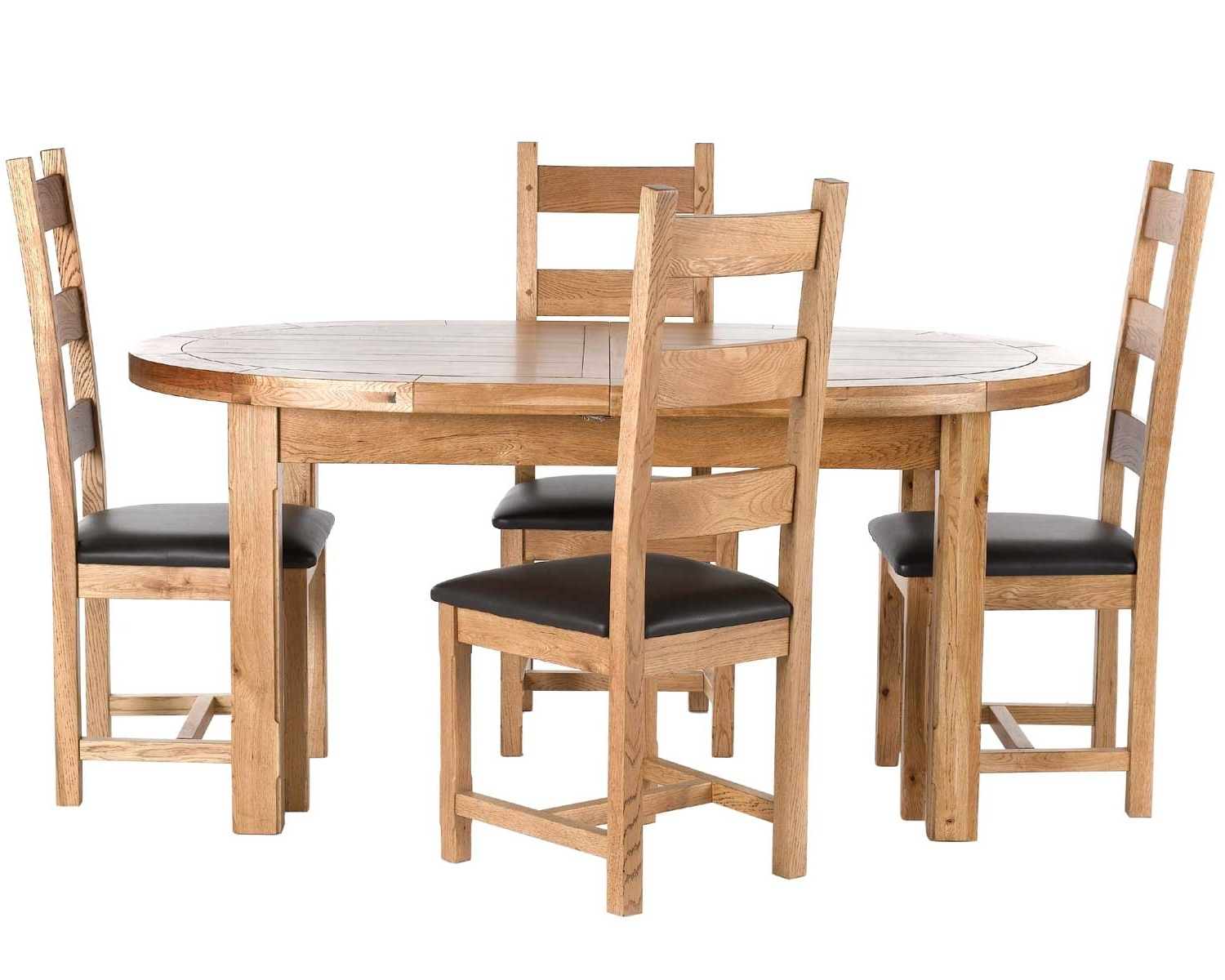 Windermere Solid Oak Oval Extending Dining Table & Chairs, Carlton Inside Well Liked Oval Oak Dining Tables And Chairs (View 12 of 25)
