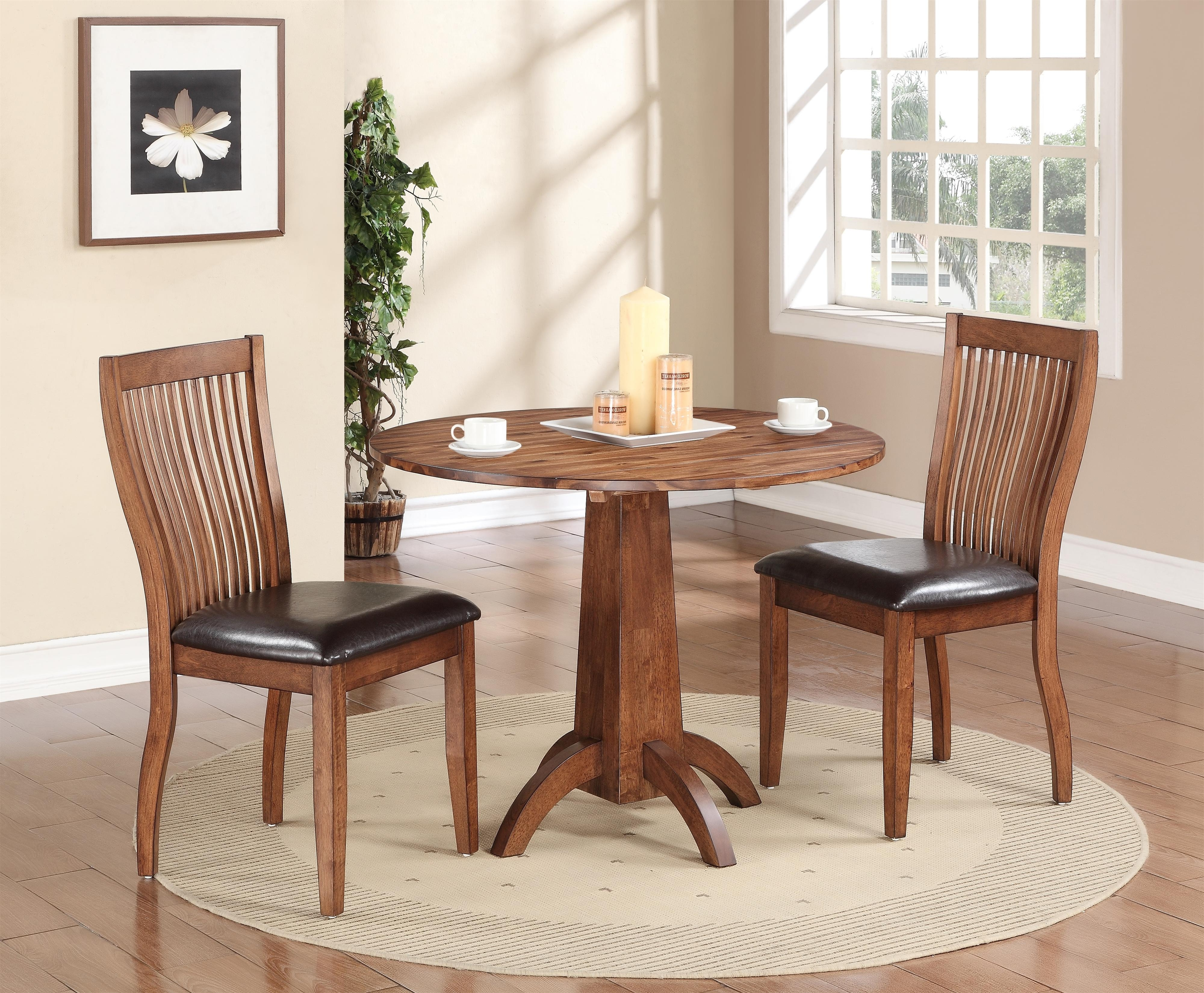 Winners Only Broadway 3 Piece Dining Set With Slat Back Chairs Intended For Latest Market 7 Piece Dining Sets With Side Chairs (View 25 of 25)
