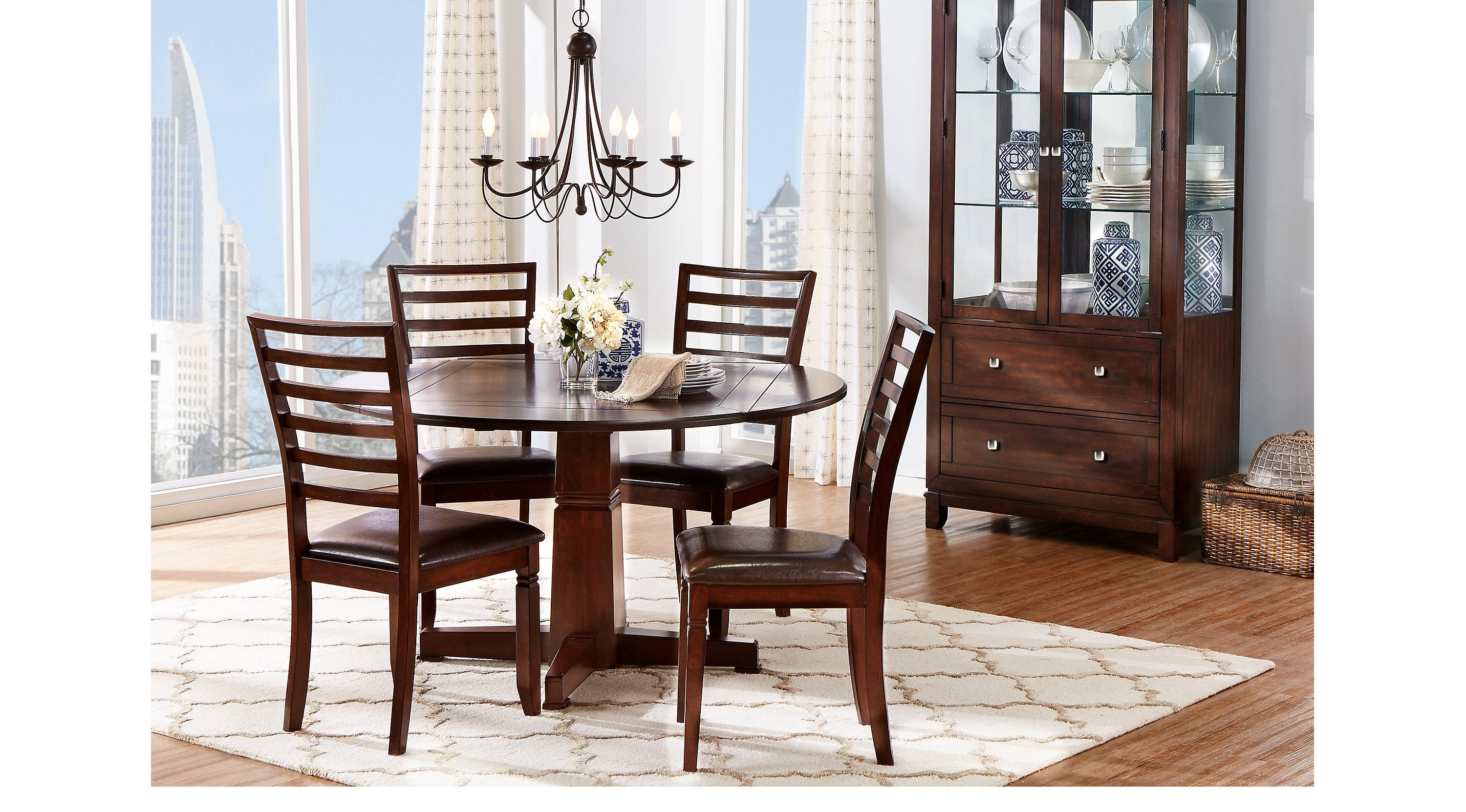 Wonderful Round Dining Room Table Also Riverdale Cherry 5 Pc Round Regarding Famous Caden 5 Piece Round Dining Sets (View 25 of 25)