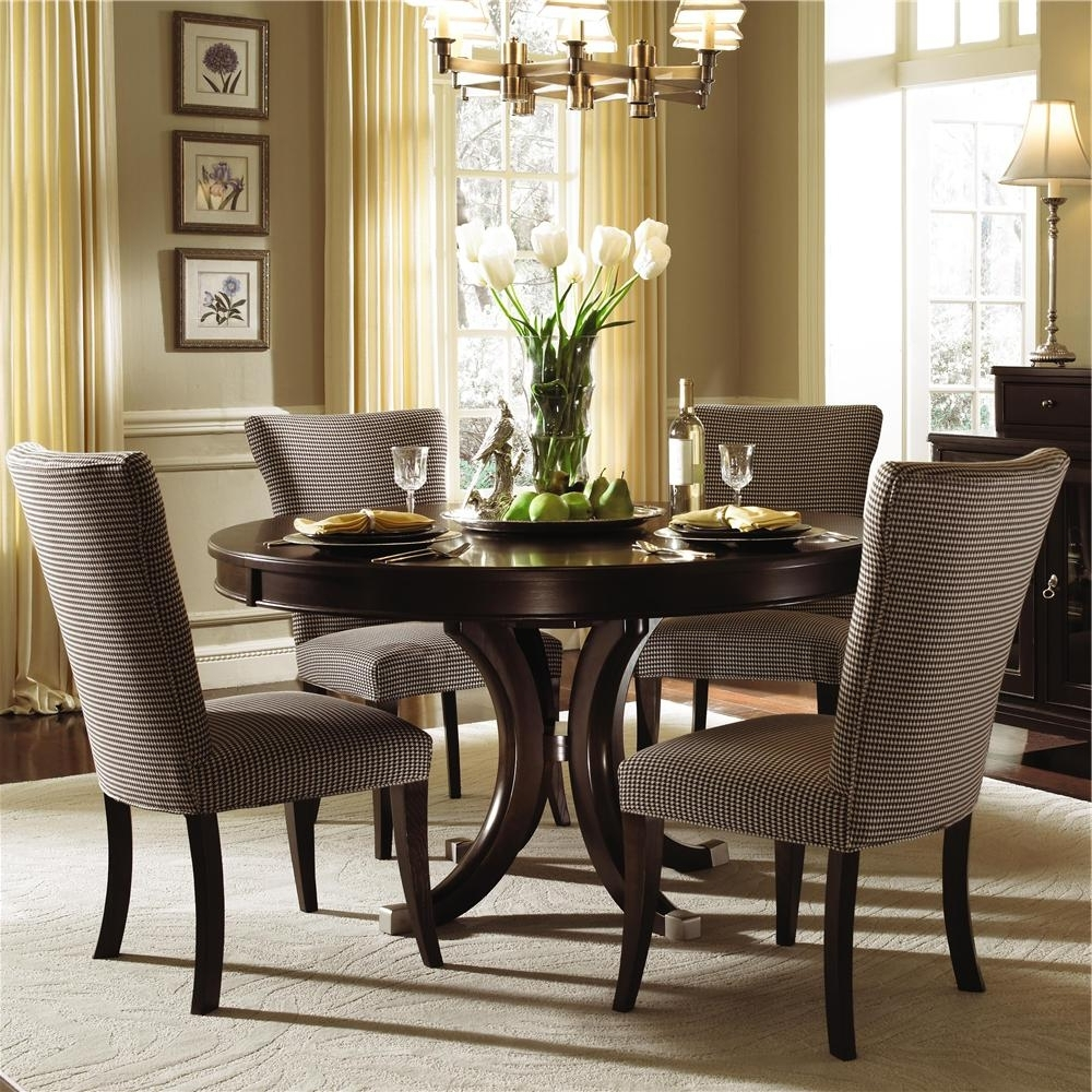 Wood Dining Table With Fabric Chairs Kincaid Furniture Alston Round For Most Popular Dining Tables And Fabric Chairs (View 13 of 25)