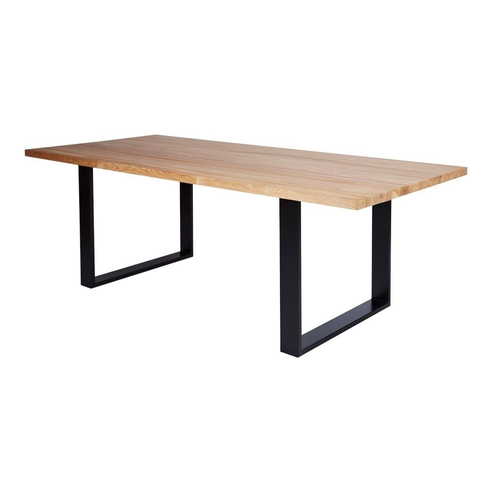Wood Dining Table With Metal Base Small For 2 Chrome Legs Top Regarding Best And Newest Dining Tables With Metal Legs Wood Top (View 11 of 25)