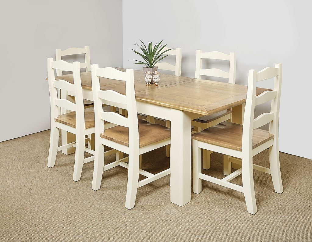 Wood Dining Tables And 6 Chairs Inside Recent Montana Ivory Extending Dining Table And 6 Chairs – Flowerhill Furniture (View 24 of 25)