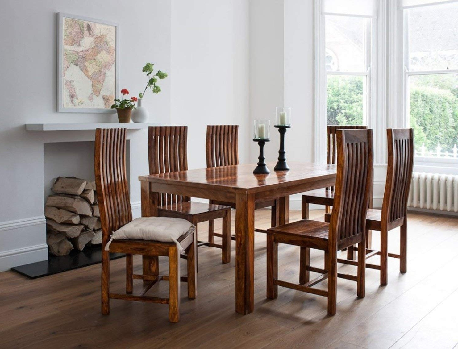 Wood Dining Tables And 6 Chairs Intended For Latest Lifeestyle Handcrafted Sheesham Wood 6 Seater Dining Set (Honey (View 7 of 25)