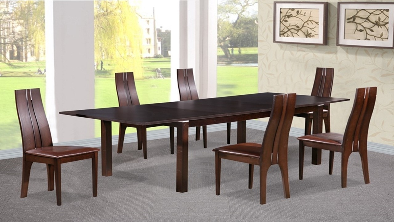 Wood Dining Tables And 6 Chairs With Latest Dining Table And 6 Chairs In Beechwood Dark Walnut – Homegenies (View 25 of 25)
