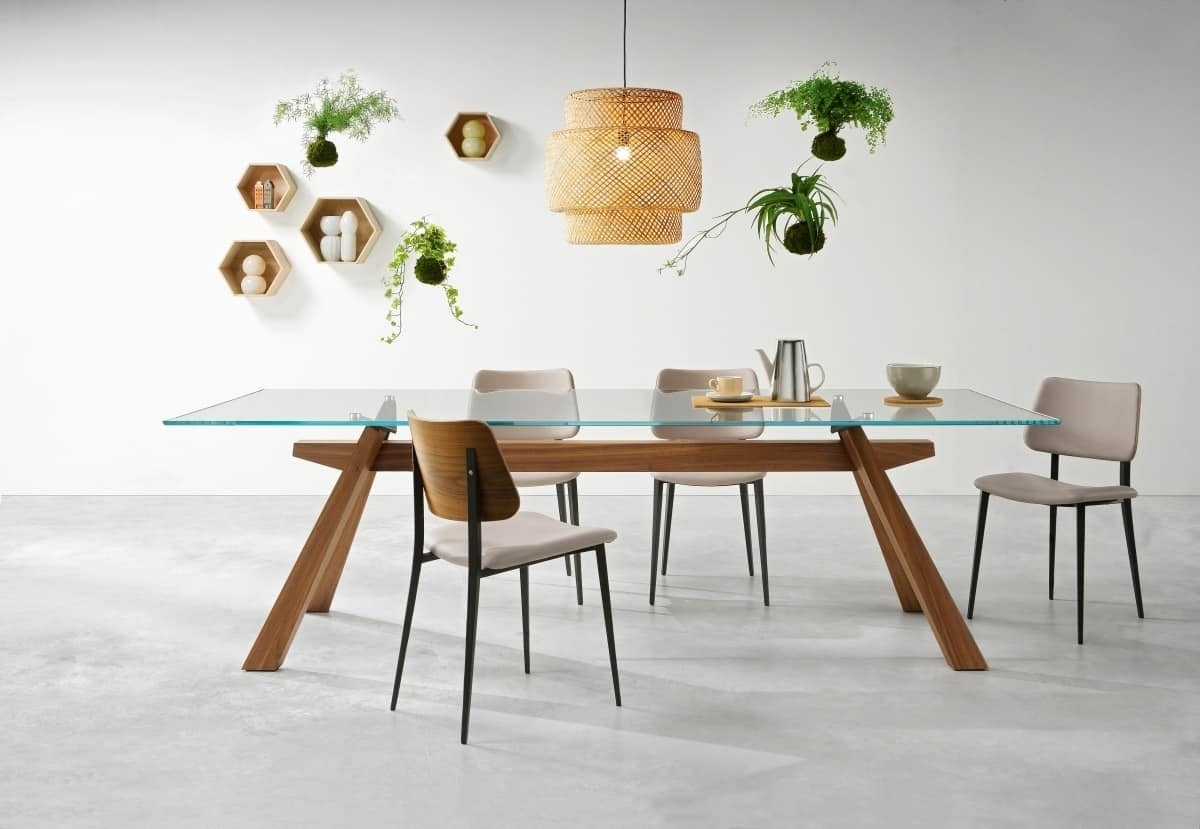Wood Glass Dining Tables With Regard To 2018 Dining Table With Wooden Structure And Top Made Of Glass (View 22 of 25)