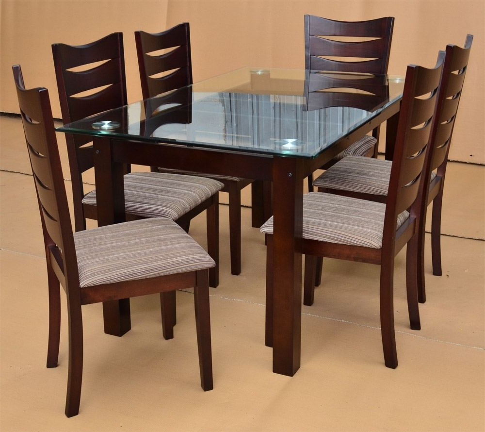 Wood Glass Dining Tables With Regard To Preferred Glass Dining Table Set White Ceramic Tile Floor Black Aluminium (View 25 of 25)