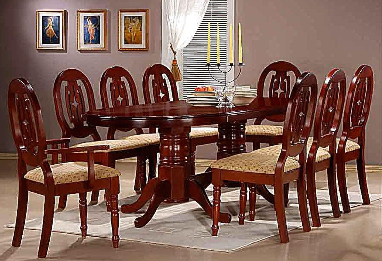 Wooden 8 Seater Dinning Table Set Glow Finish With Chairs (View 4 of 25)