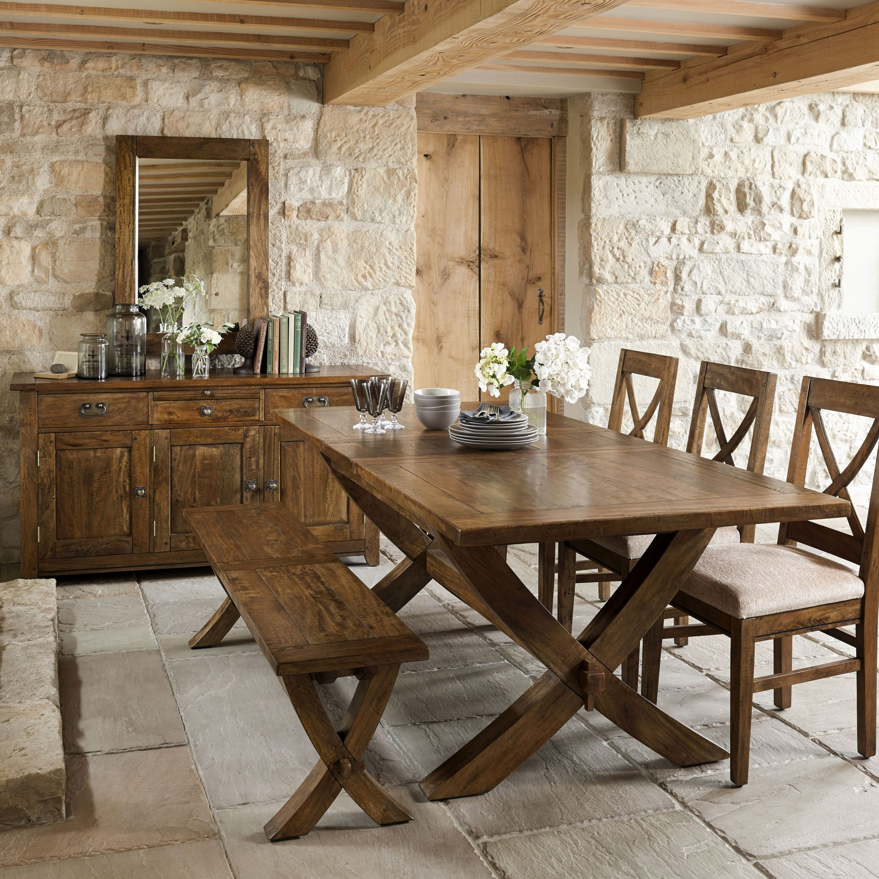 Wooden Dining Tables And 6 Chairs Inside Favorite Axbridge Mango Wood Extending X Leg Dining Table & 6 Chairs (View 19 of 25)