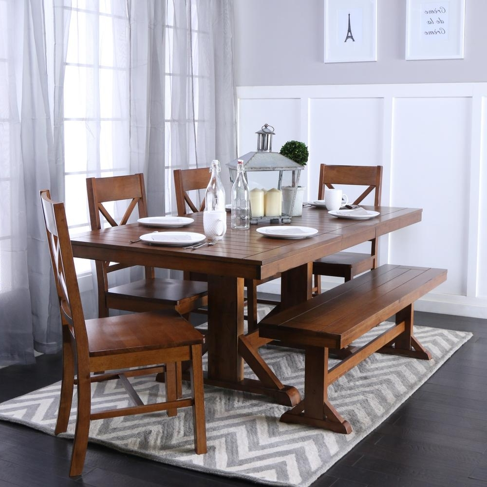 Wooden Dining Tables And 6 Chairs Intended For Popular Walker Edison Furniture Company Millwright 6 Piece Antique Brown (View 23 of 25)