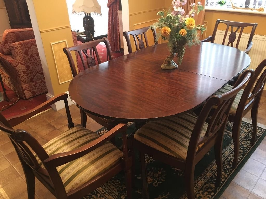 Wooden Dining Tables And 6 Chairs Regarding Most Current Mahogany Dining Table 6 Chairs £30Ono (Needs To Go) (View 24 of 25)