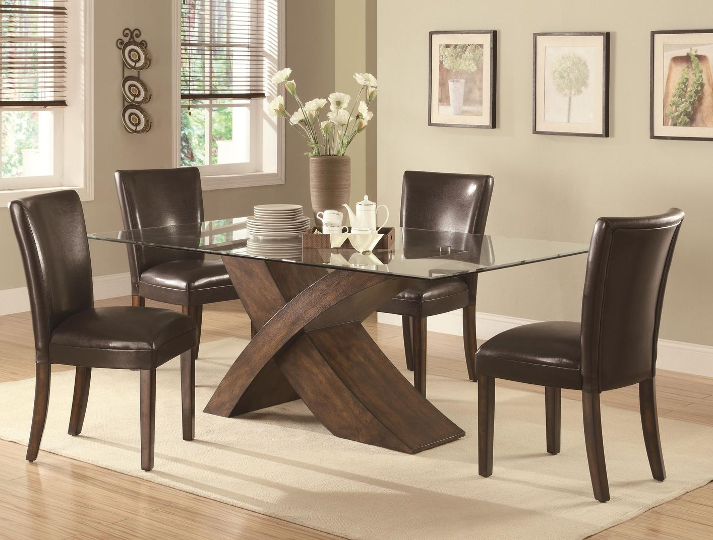 Wooden Glass Dining Tables For Trendy Nessa Deep Brown Wood And Glass Dining Table Set – Steal A Sofa (View 21 of 25)