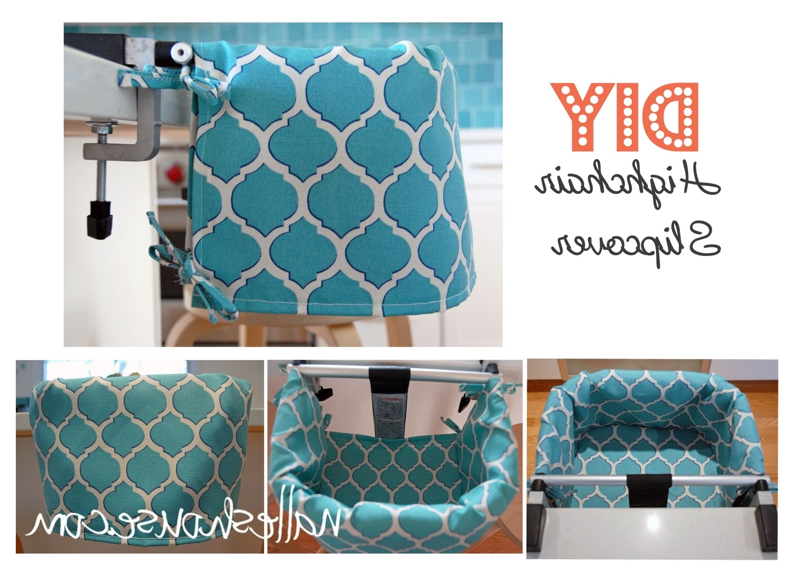 Wyatt 6 Piece Dining Sets With Celler Teal Chairs Regarding 2017 Nalle's House: Highchair Slipcover How To (View 18 of 25)