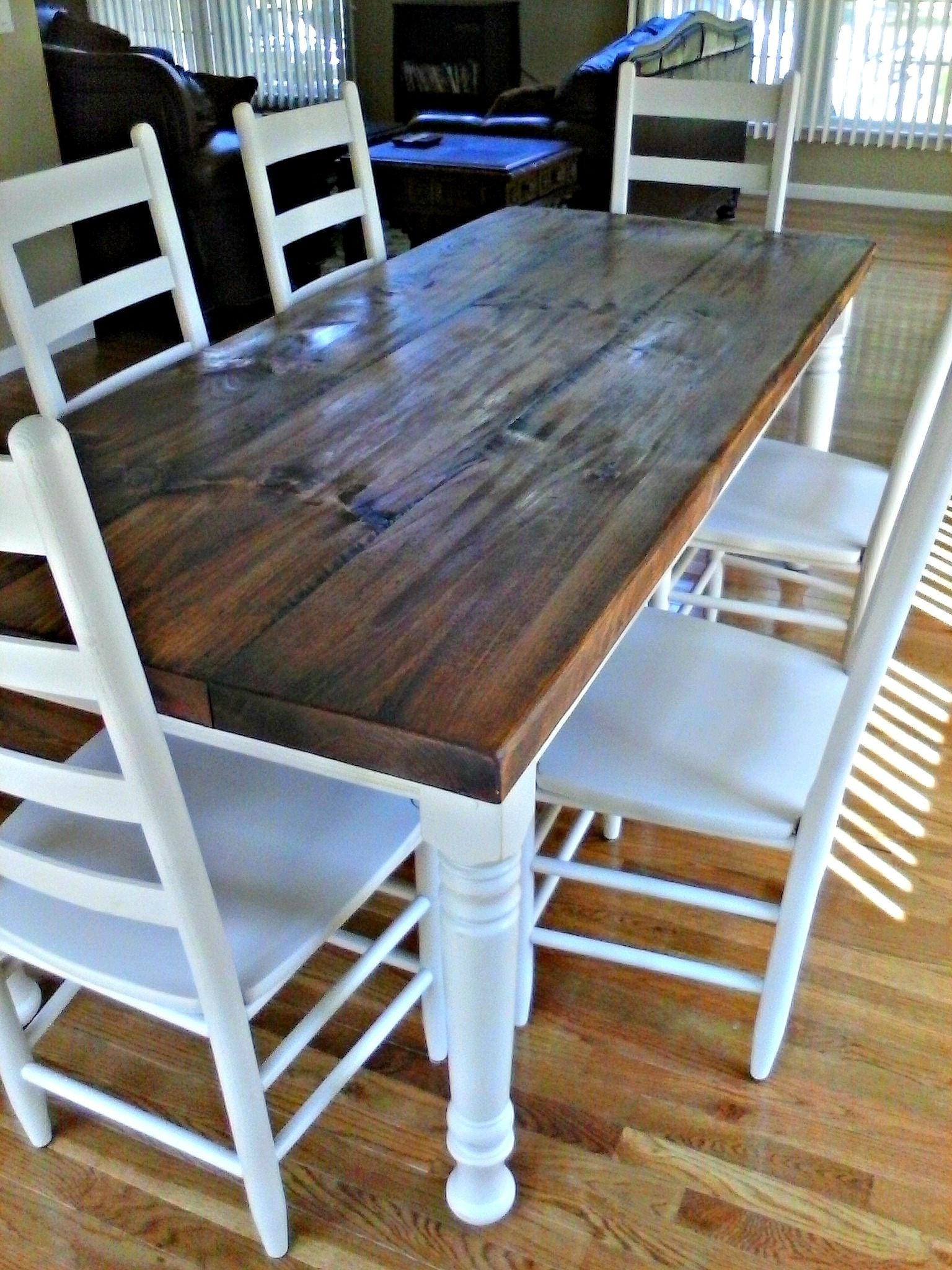 Wyatt 7 Piece Dining Sets With Celler Teal Chairs Regarding Well Known 36 X 84 Rustic Pine Farm Table With Hand Scraping, Wormholes And (View 21 of 25)