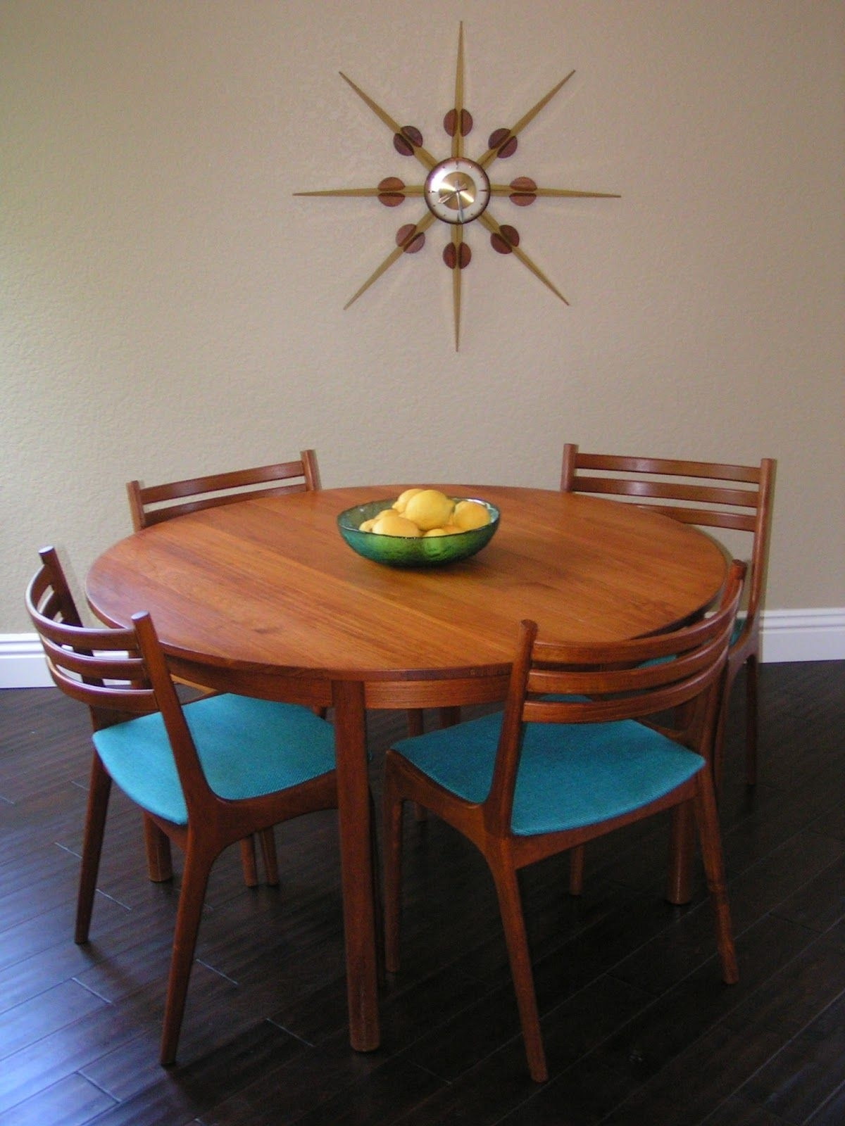 Wyatt 7 Piece Dining Sets With Celler Teal Chairs Throughout Most Recent Sleek And Simple Lines: Vintage Danish Teak Round Dining Table, Six (View 23 of 25)