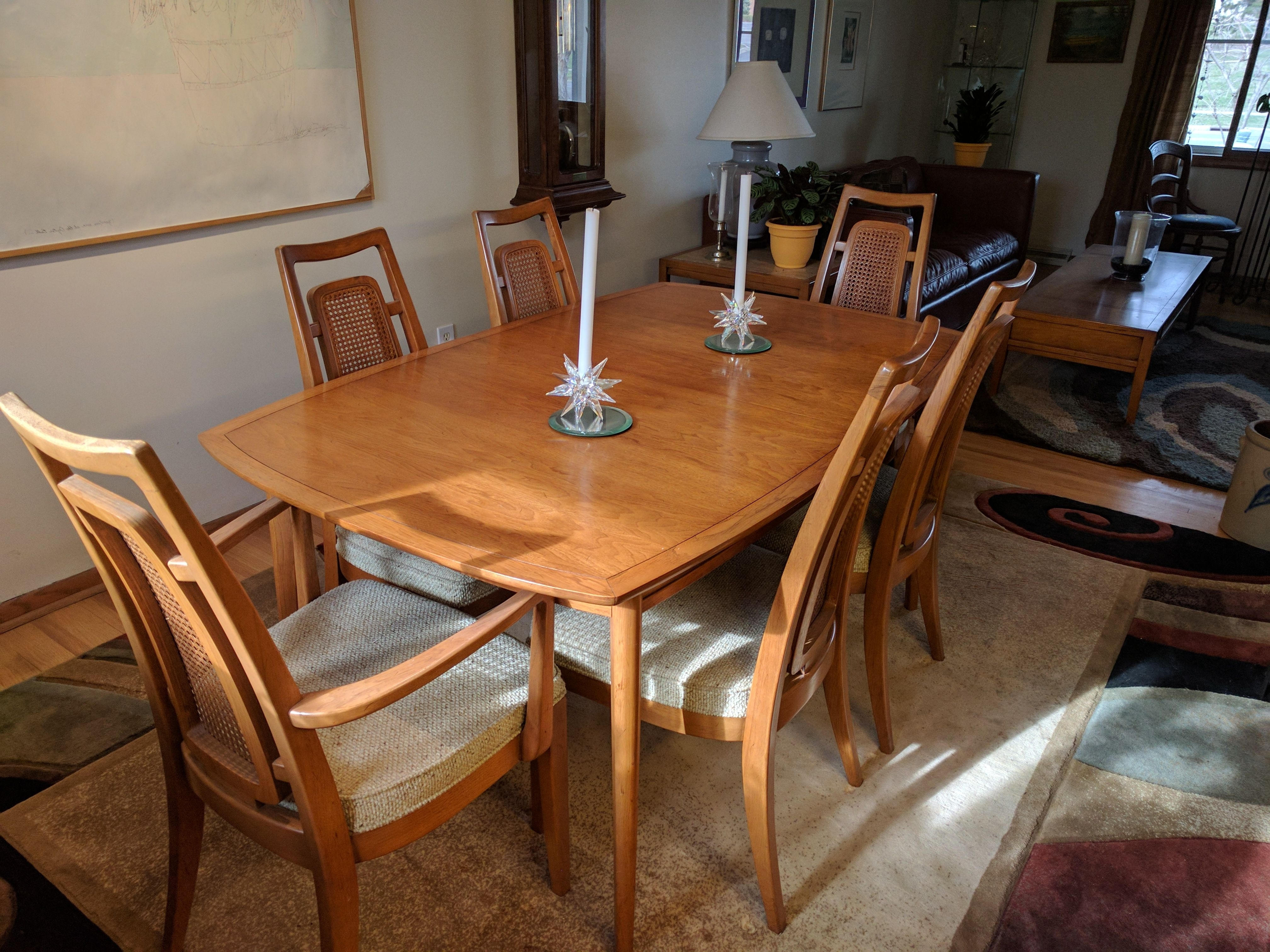 "Wyatt 7 Piece Dining Sets With Celler Teal Chairs With Regard To Most Recent Dining Table With Six Chairs, Two 18"" Leaves Designed For Drexel (View 24 of 25)"