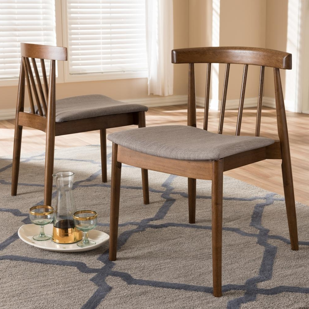 Wyatt Dining Tables Intended For Well Known Baxton Studio Wyatt Beige And Walnut Brown Fabric Dining Chair (Set (View 25 of 25)