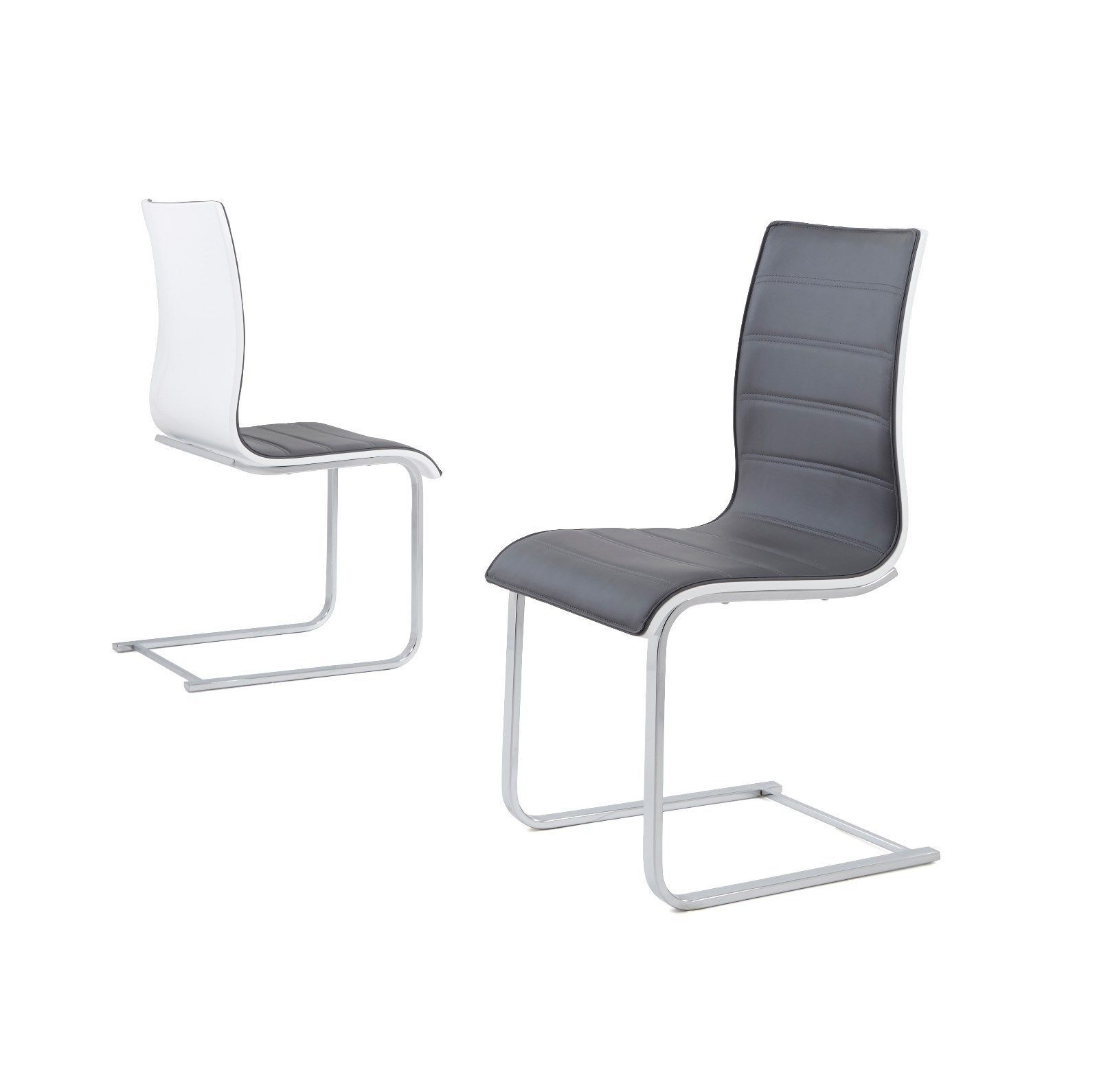 Wynn High Gloss Back Dining Chairs Only – Grey & White Throughout Favorite Grey Dining Chairs (View 11 of 25)