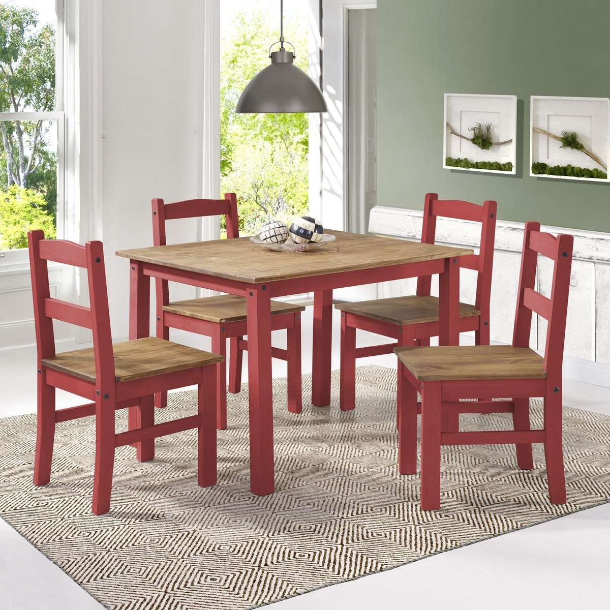 York Red Wash 5 Piece Solid Wood Dining Setmanhattan Comfort For Most Current Walden 9 Piece Extension Dining Sets (View 25 of 25)