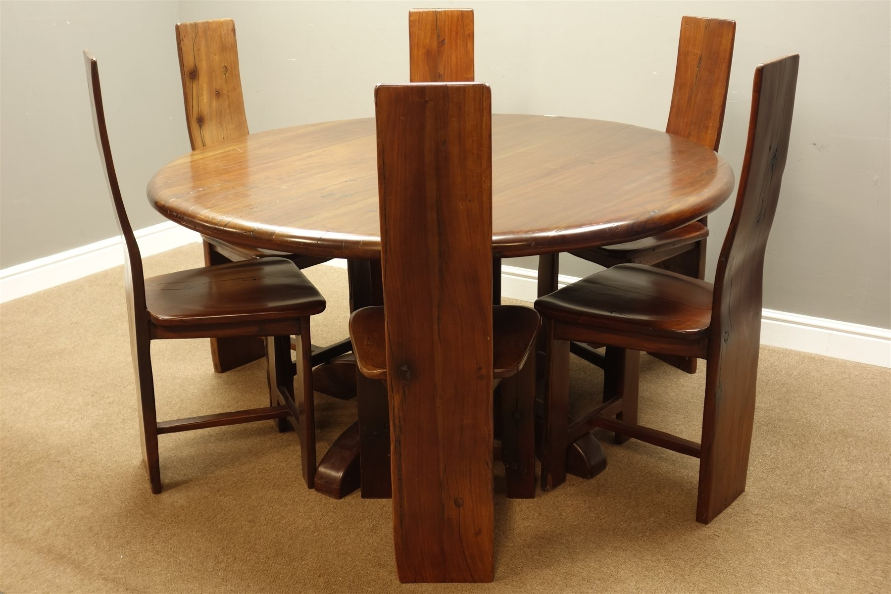 Zimbabwean Solid Teak Circular Pedestal Dining Table (D150Cm, H76Cm For Famous Railway Dining Tables (View 24 of 25)