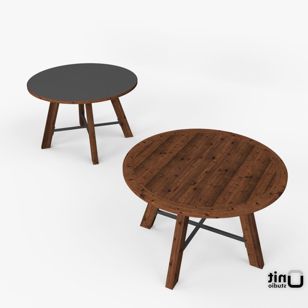 Zinc Top Railway Trestle Round Dining Table3D Model 1 Pertaining To Well Liked Railway Dining Tables (View 25 of 25)