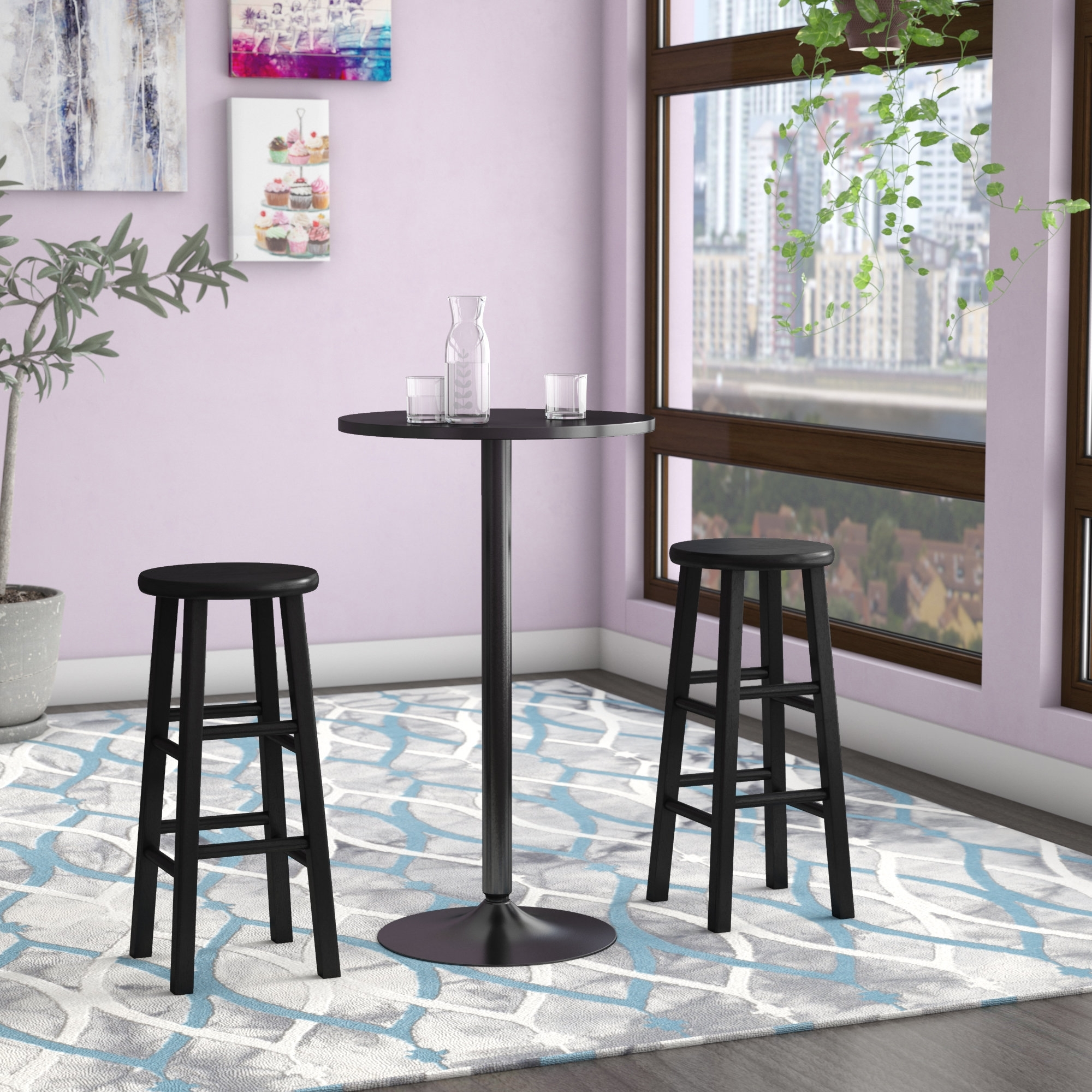 Zipcode Design Avery 3 Piece Counter Height Pub Table Set & Reviews Inside Famous Laurent 7 Piece Counter Sets With Upholstered Counterstools (View 17 of 25)
