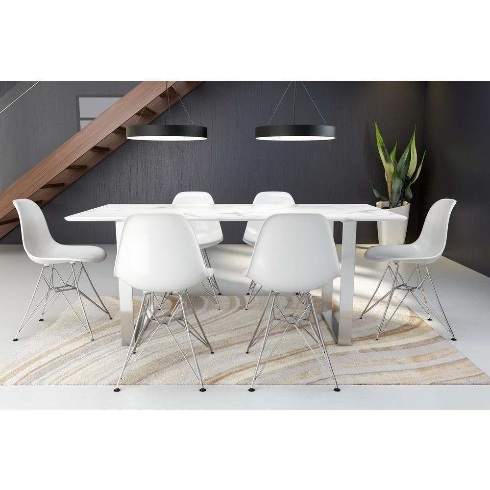 Zuo Atlas Stone And Brushed Stainless Steel Dining Table 100707 Within Favorite Stone Dining Tables (View 25 of 25)
