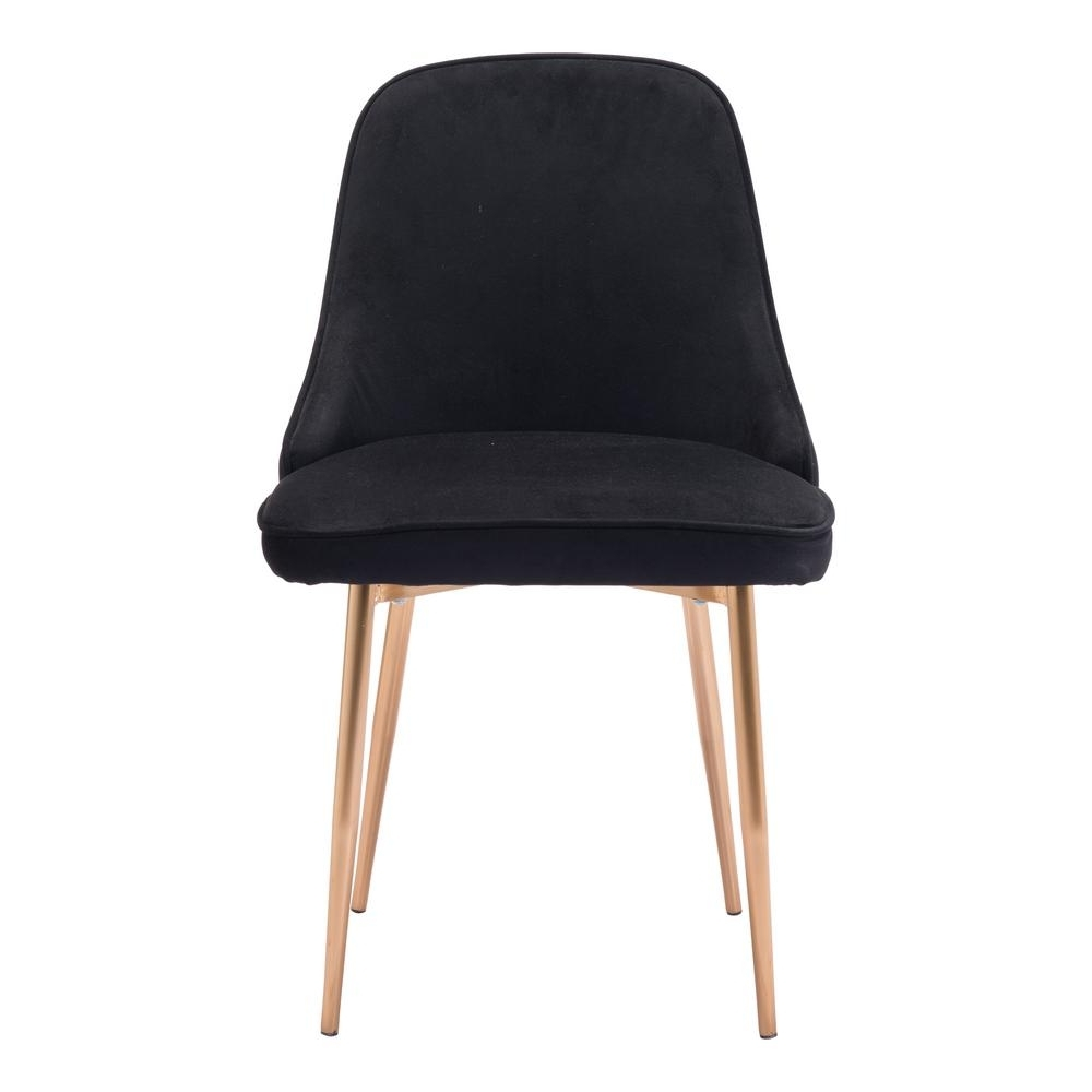 Zuo Merritt Black Velvet Dining Chair 100856 – The Home Depot Inside Well Known Black Dining Chairs (View 11 of 25)