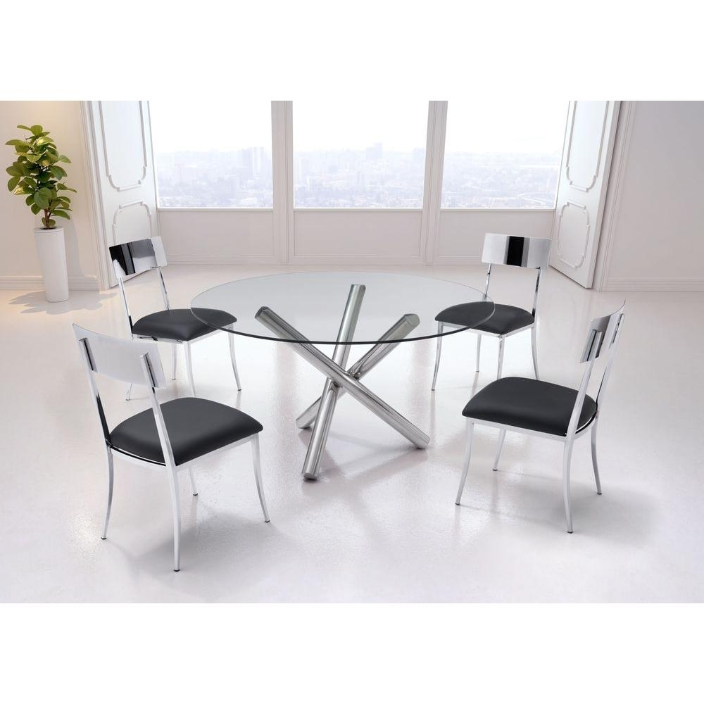 Zuo Stant Chrome Dining Table 100352 – The Home Depot Regarding Famous Grey Glass Dining Tables (View 25 of 25)