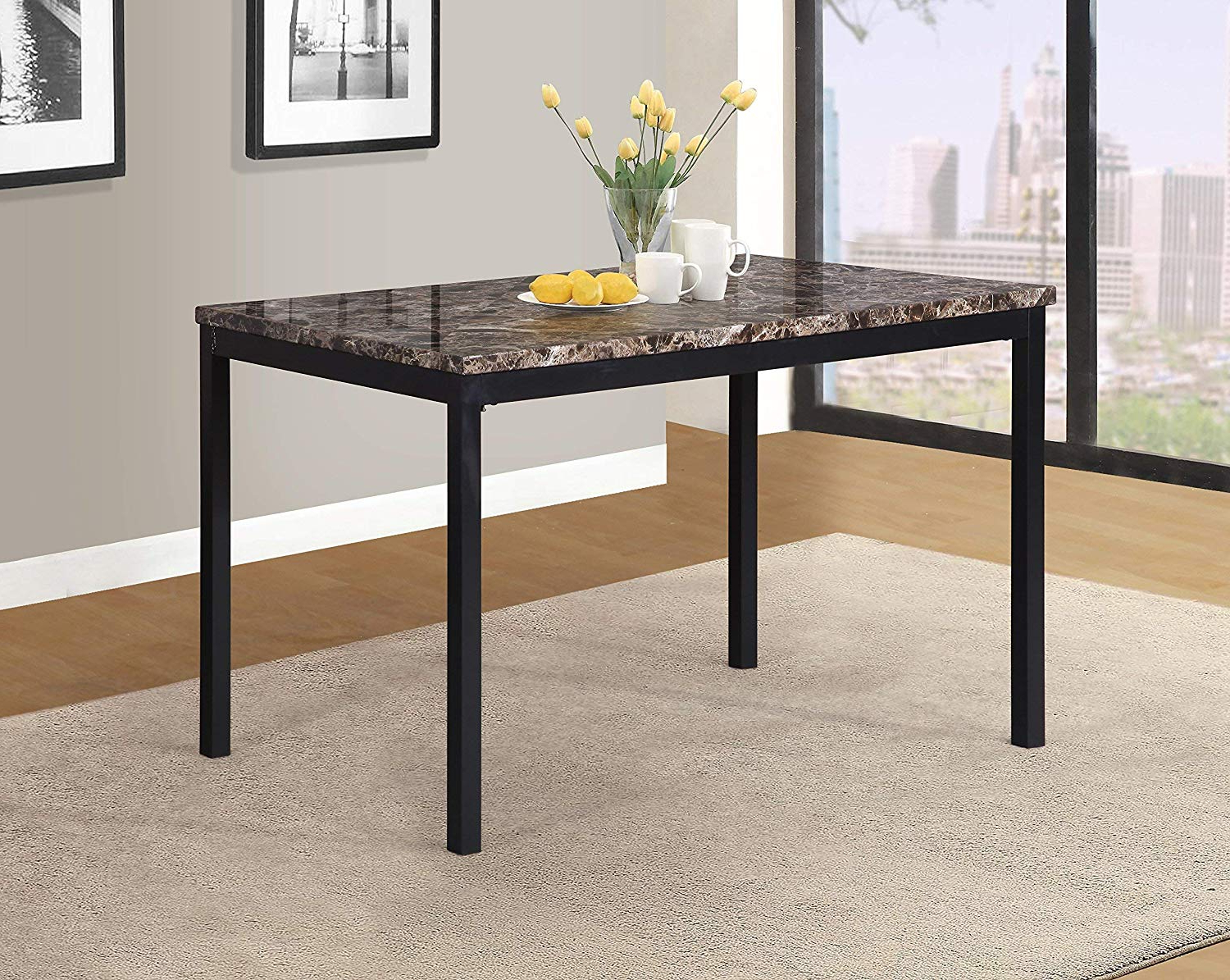 2019 Amazon – Roundhill Furniture T007 Noyes Metal Dining Table With For Noyes 5 Piece Dining Sets (View 1 of 25)