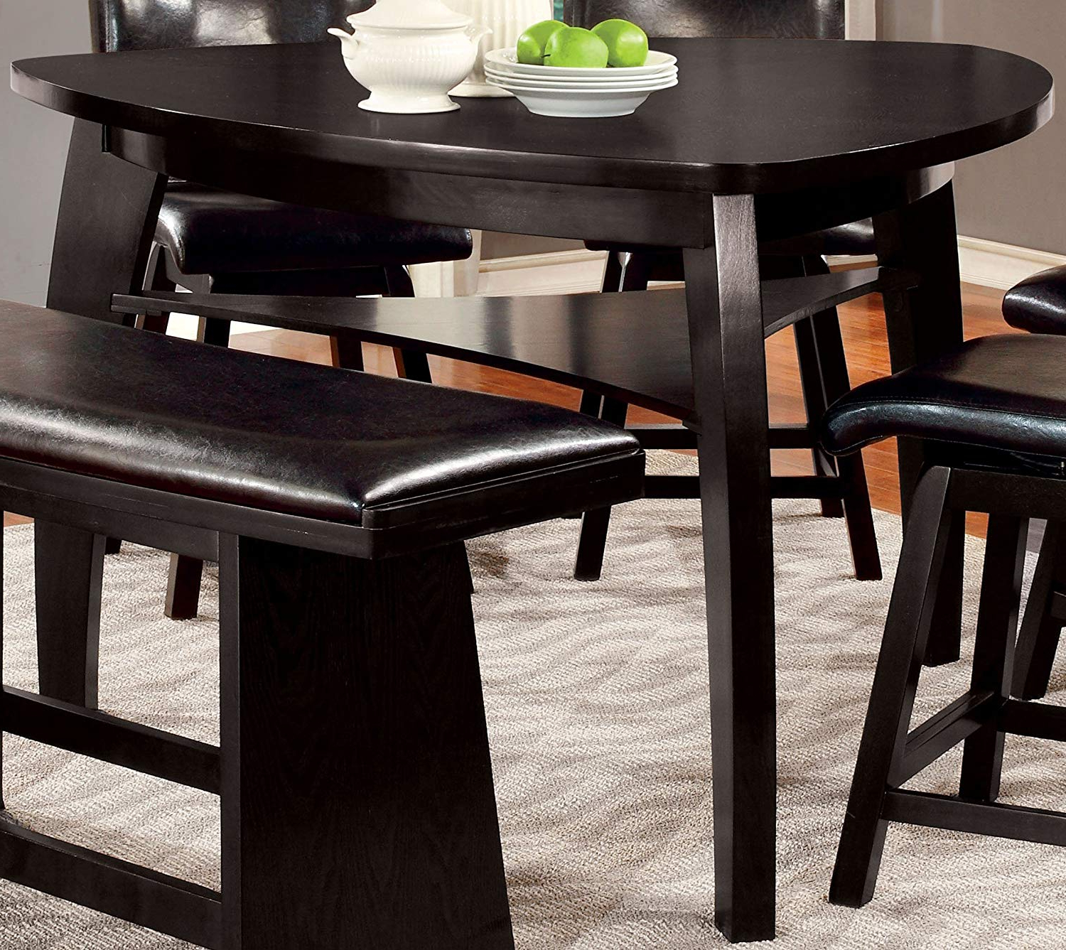 2019 Amir 5 Piece Solid Wood Dining Sets (Set Of 5) With Amazon – Furniture Of America Morley Pub Dining Table, Black (View 4 of 25)
