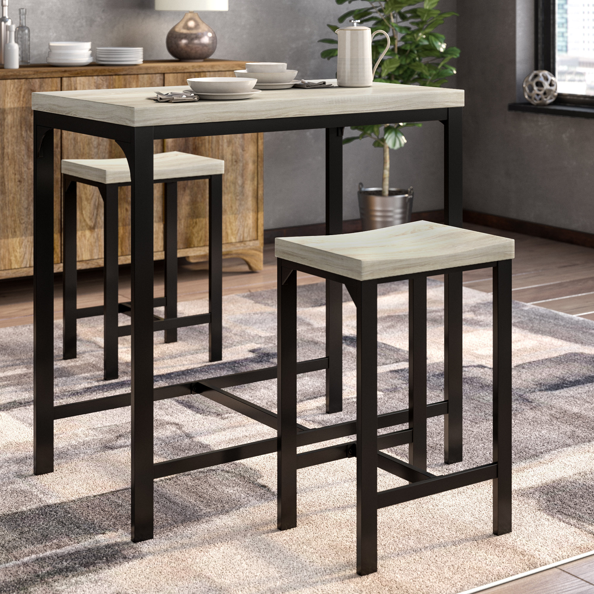 2019 Ebern Designs Kimmons 3 Piece Dining Set (View 4 of 25)