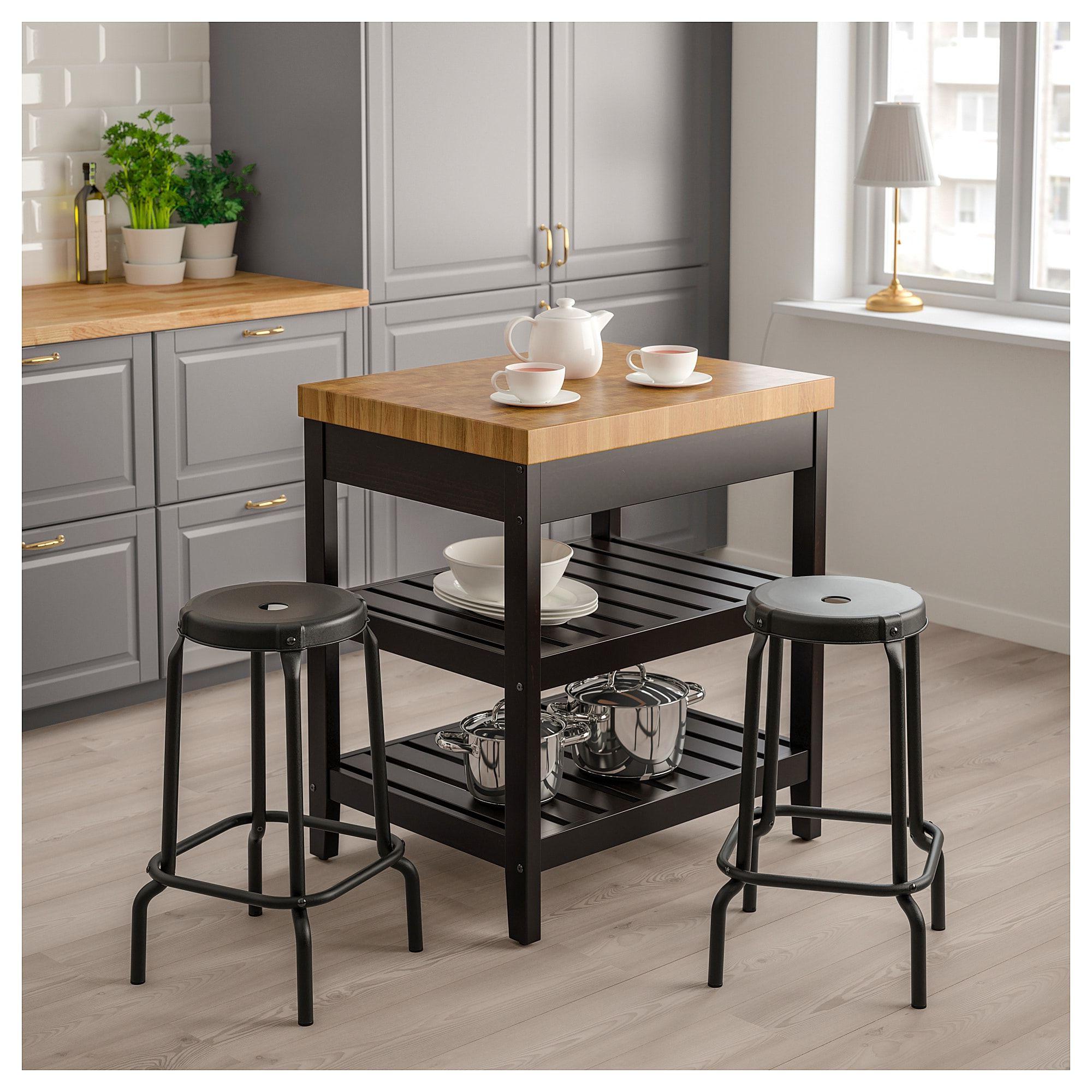 2019 Ikea - Vadholma Kitchen Island Black, Oak In 2019