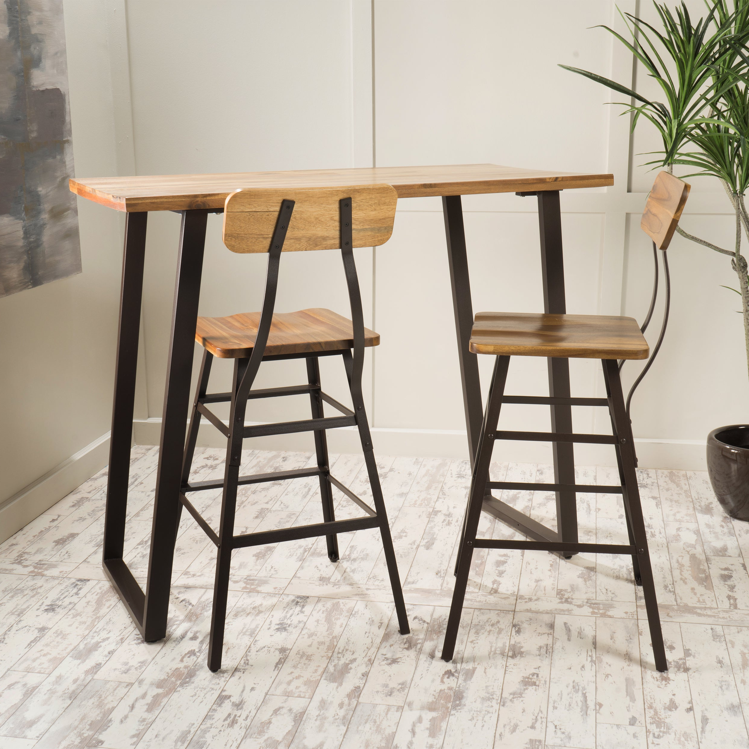 2019 Kaya 3 Piece Dining Sets Intended For Shop Ramona 3 Piece Acacia Wood Bar Setchristopher Knight Home (View 7 of 25)
