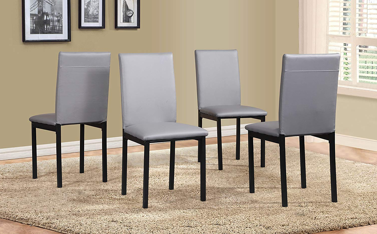 2019 Noyes 5 Piece Dining Sets Throughout Amazon – Roundhill Furniture C007Gy Noyes Faux Leather Metal (View 8 of 25)