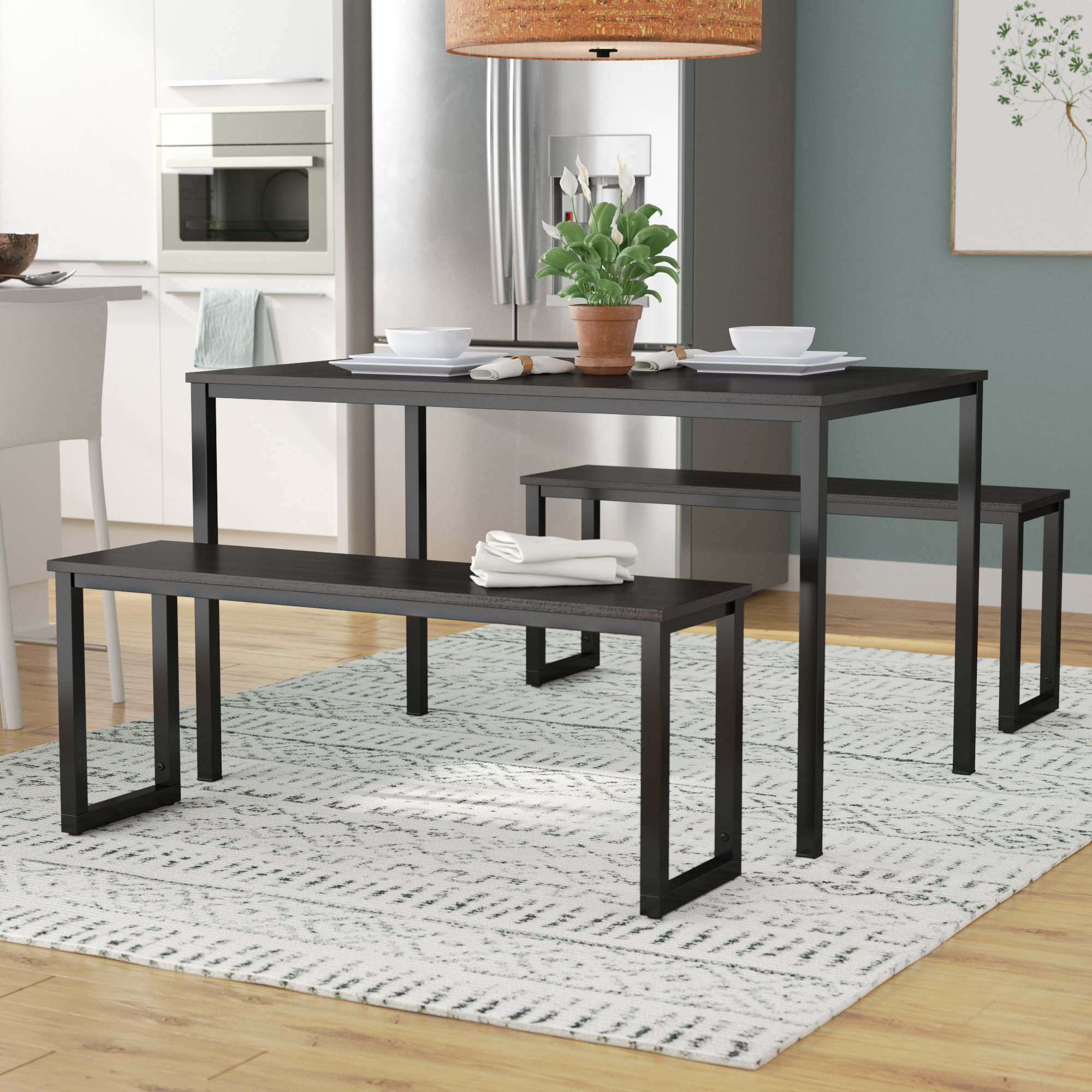 2019 Wrought Studio Chelmsford 3 Piece Dining Set & Reviews (View 3 of 25)