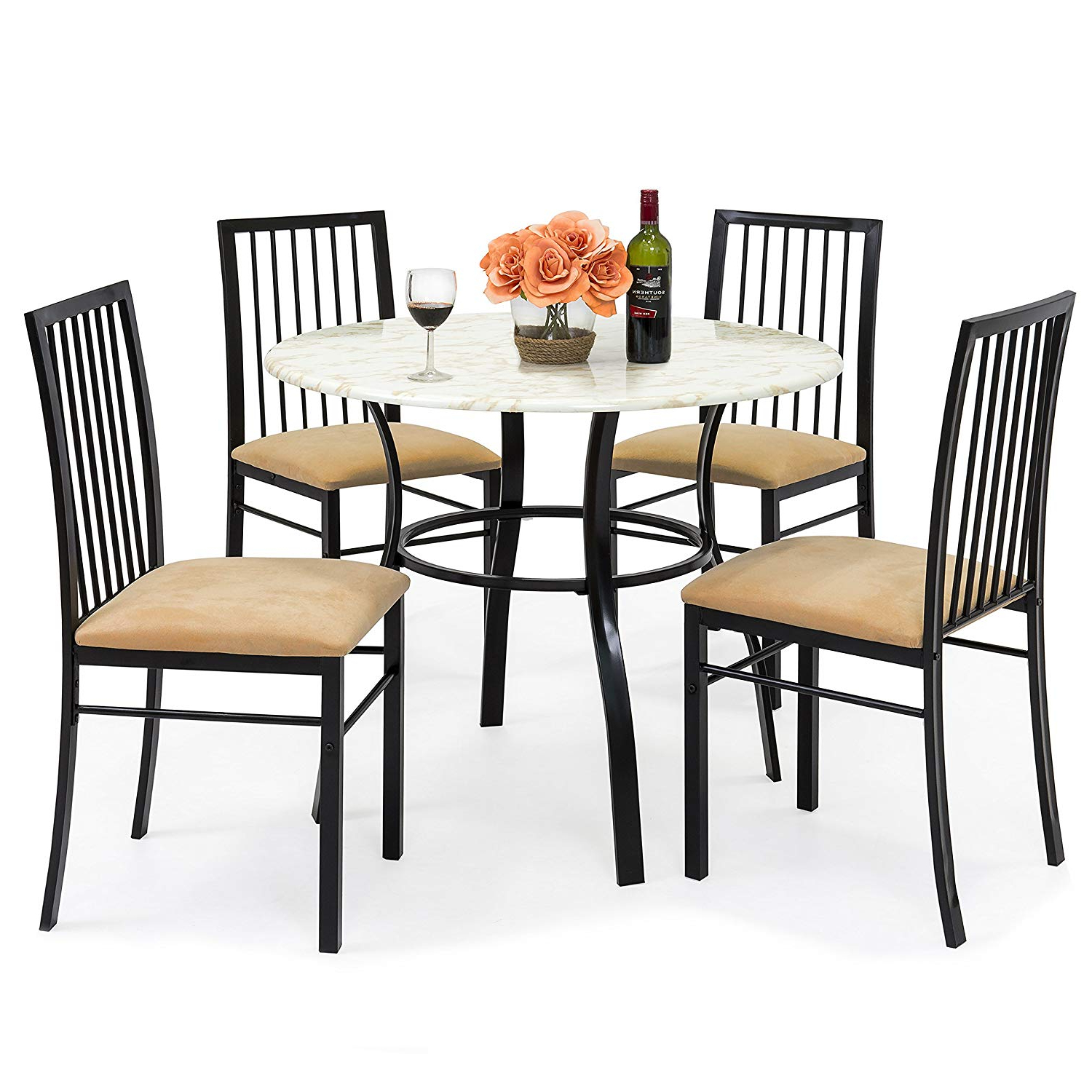 2020 Amazon – Best Choice Products 5 Piece Faux Marble Top Dining Throughout Evellen 5 Piece Solid Wood Dining Sets (Set Of 5) (View 2 of 25)