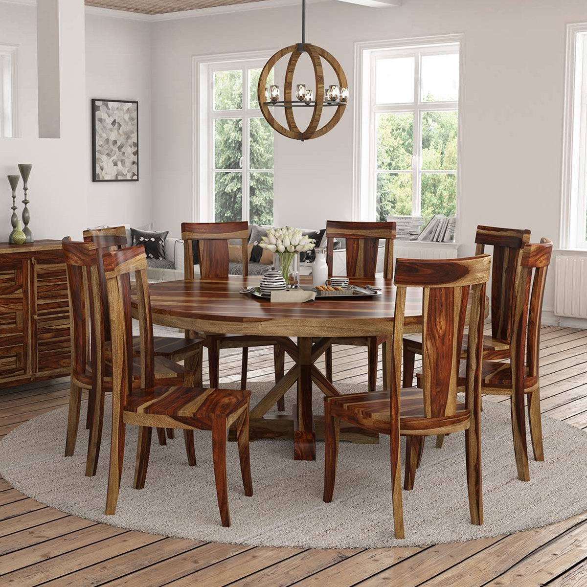 "2020 Bedfo 3 Piece Dining Sets Within Bedford X Pedestal Rustic 72"" Round Dining Table With 8 Chairs Set (View 2 of 25)"