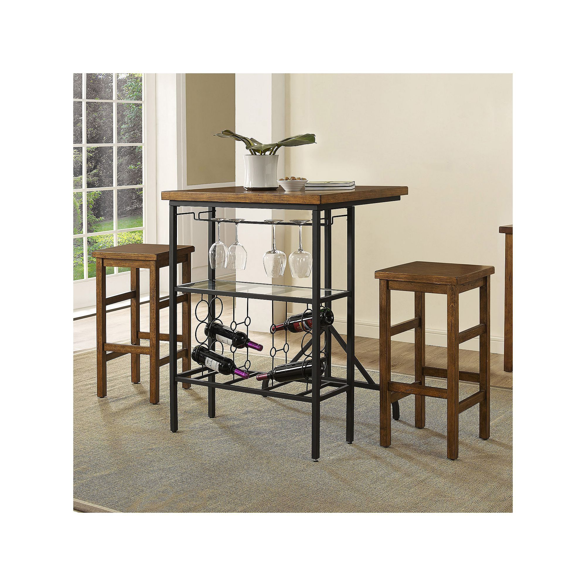 2020 Crosley Furniture Sienna Wine Rack Bistro Table & Bar Stool 3 Piece For Hood Canal 3 Piece Dining Sets (View 10 of 25)