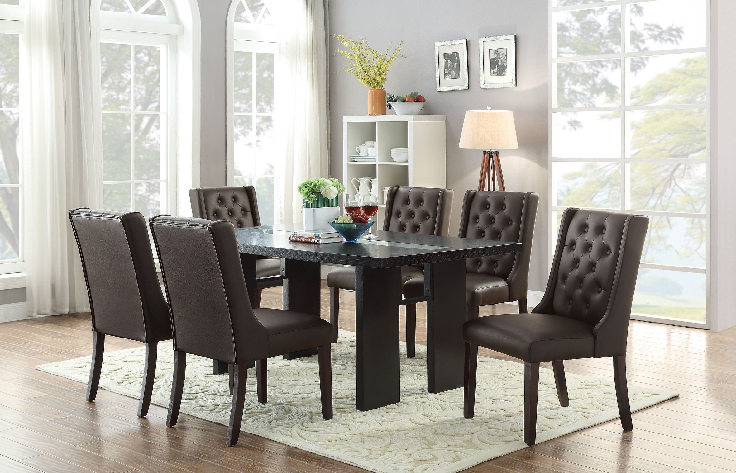 2020 F1501 Espresso Dining Chair (Set Of 2)Poundex In 2019 Inside Penelope 3 Piece Counter Height Wood Dining Sets (View 25 of 25)