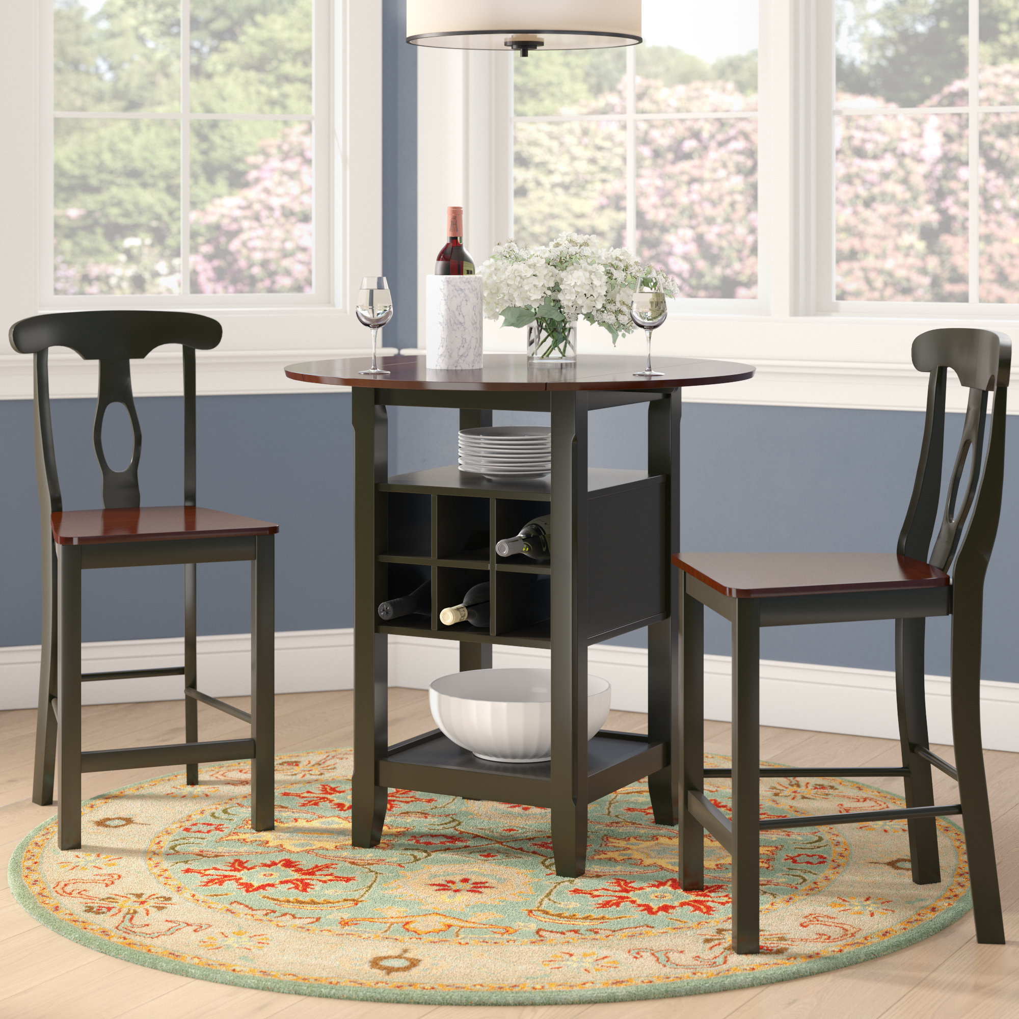 2020 Hood Canal 3 Piece Dining Sets throughout Charlton Home Teneyck 3 Piece Counter Height Pub Table Set & Reviews