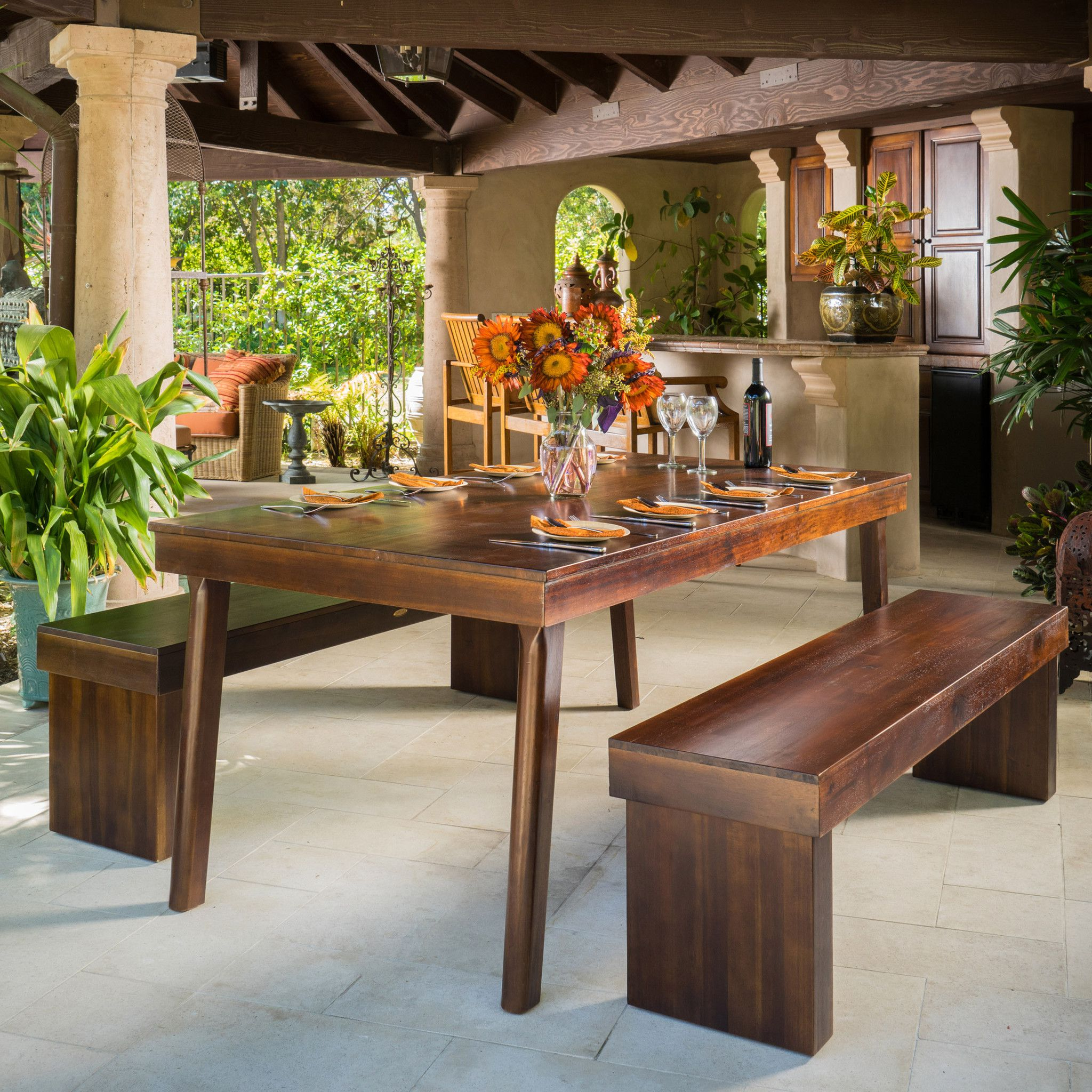 2020 Kaya 3 Piece Dining Sets Pertaining To Salvador 3Pc Mahogany Stained Wood Table And Bench Dining Set (View 8 of 25)