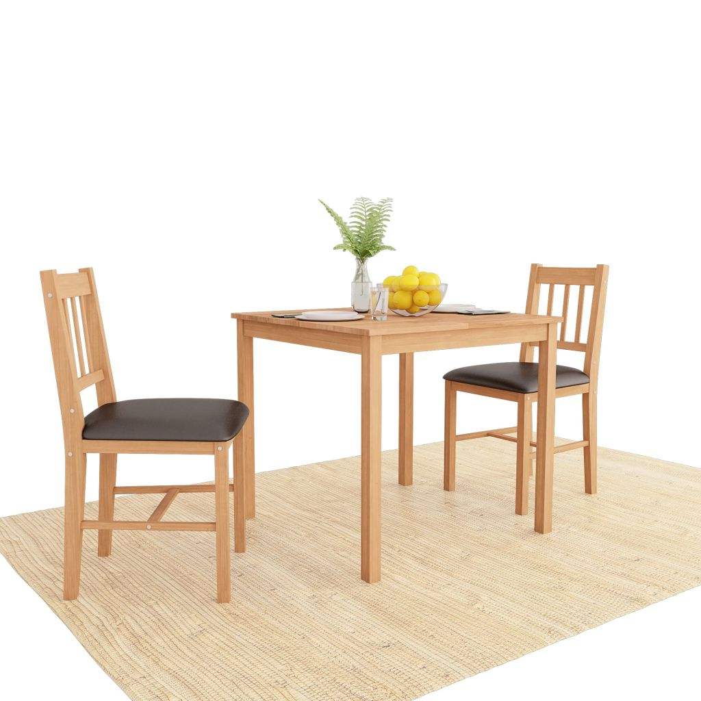2020 Lonon 3 Piece Dining Sets for Vidaxl Dining Room Set 3 Pieces Solid Oak For Sale In London
