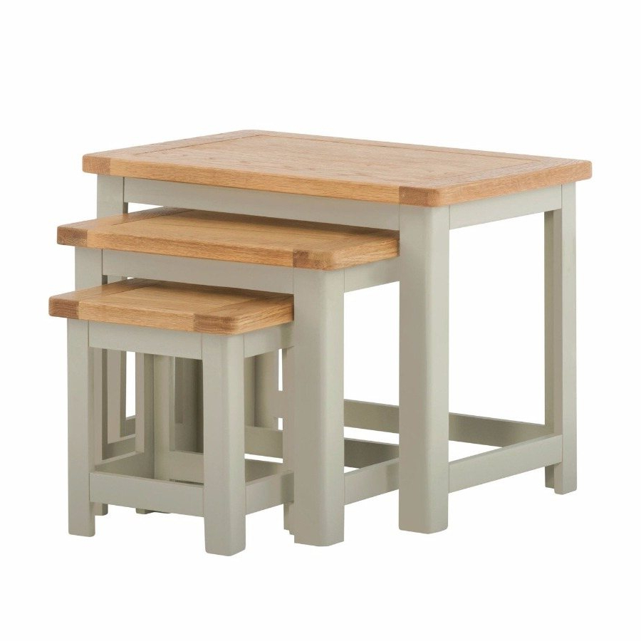 2020 Northwood Nest Of Tables In Stone - Living - Solent Beds Limited inside Northwoods 3 Piece Dining Sets