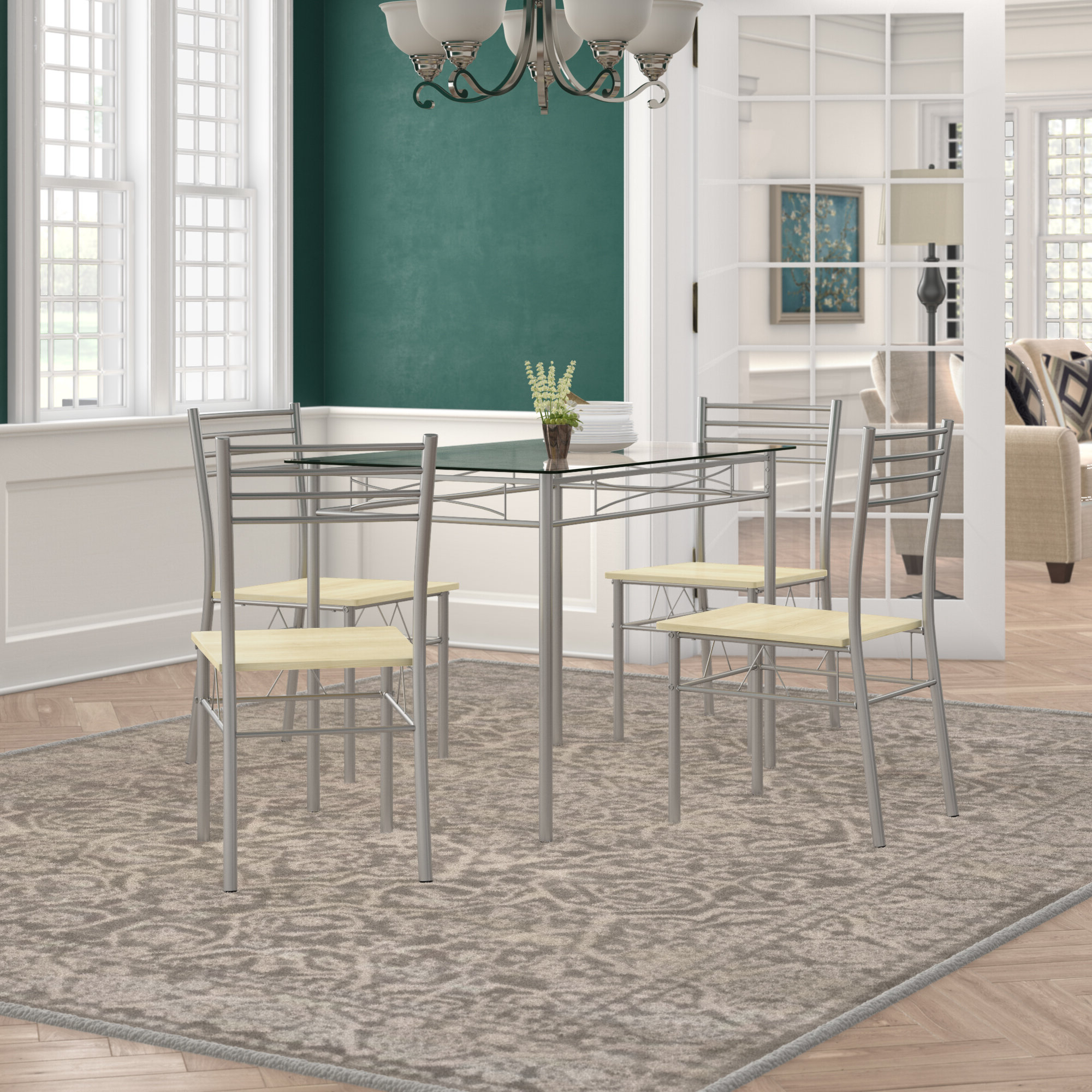 2020 Winston Porter Tavarez 5 Piece Dining Set (View 6 of 25)