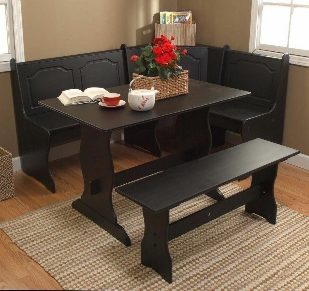 3 Pc Black Wooden Breakfast Nook Dining Set Corner Booth Bench Within Famous 3 Piece Breakfast Nook Dinning Set (View 17 of 25)