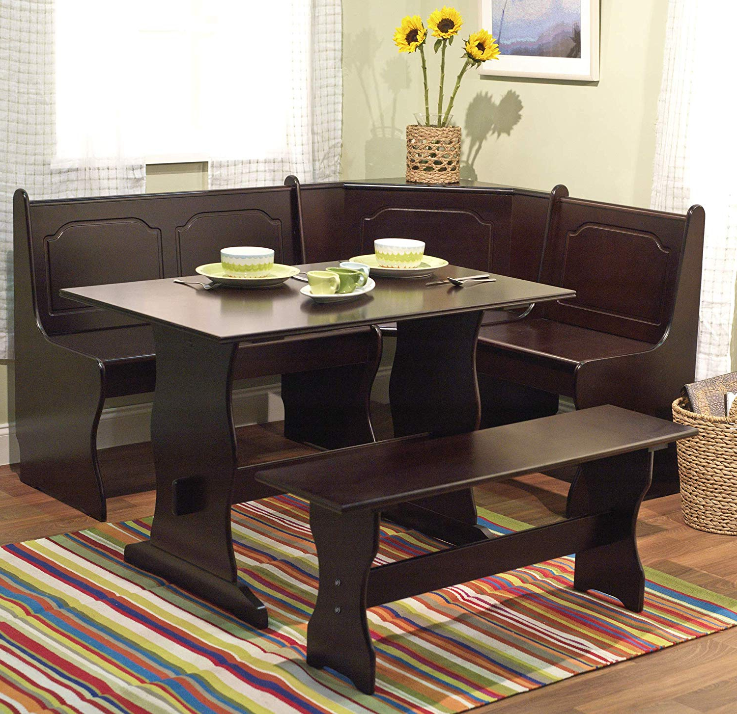 3 Pc Espresso Wooden Breakfast Nook Dining Set Corner Booth Bench With Regard To Most Recent 3 Piece Breakfast Nook Dinning Set (View 5 of 25)